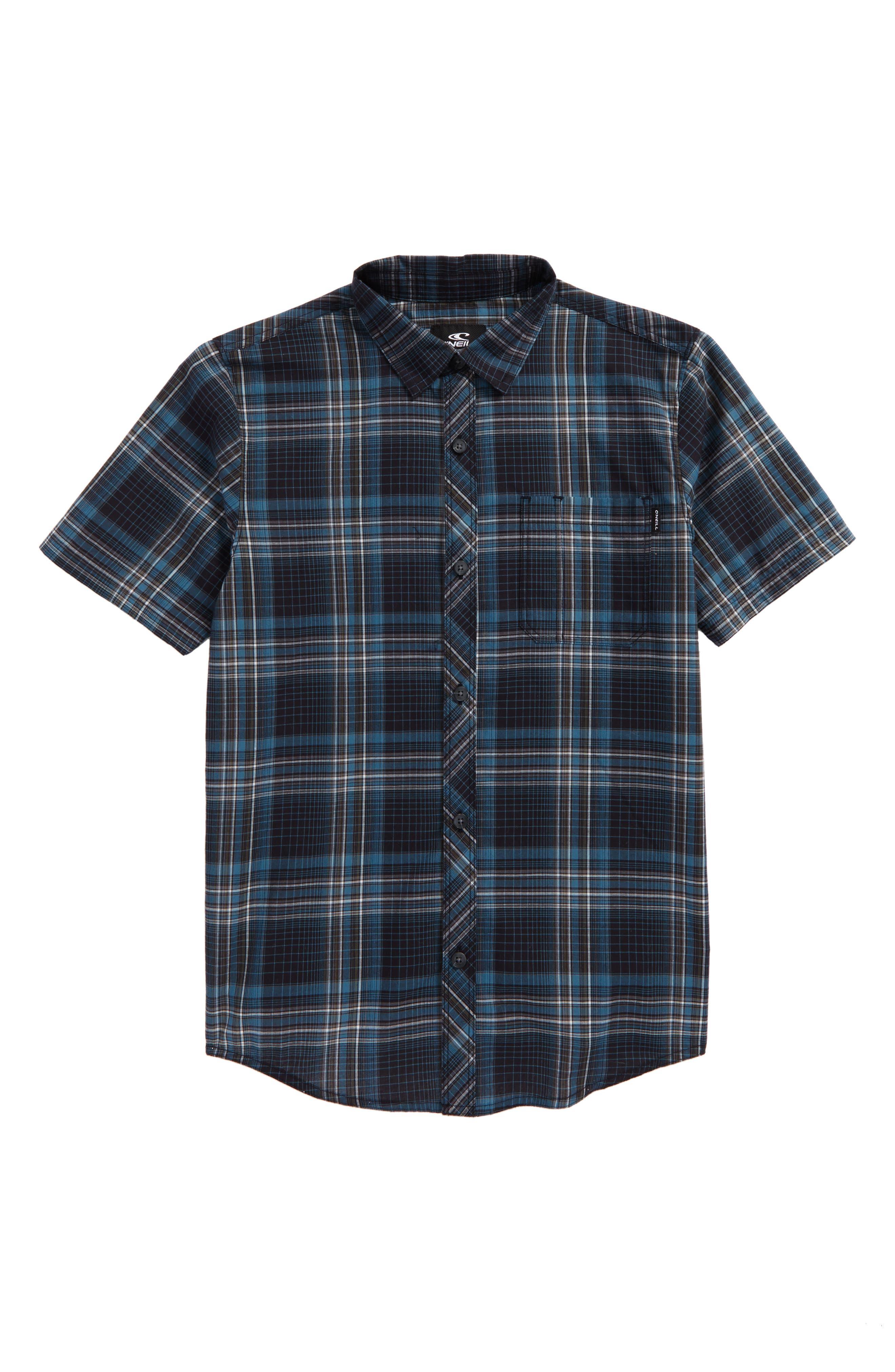 Sturghill Plaid Woven Shirt,                             Main thumbnail 1, color,                             Dark Navy