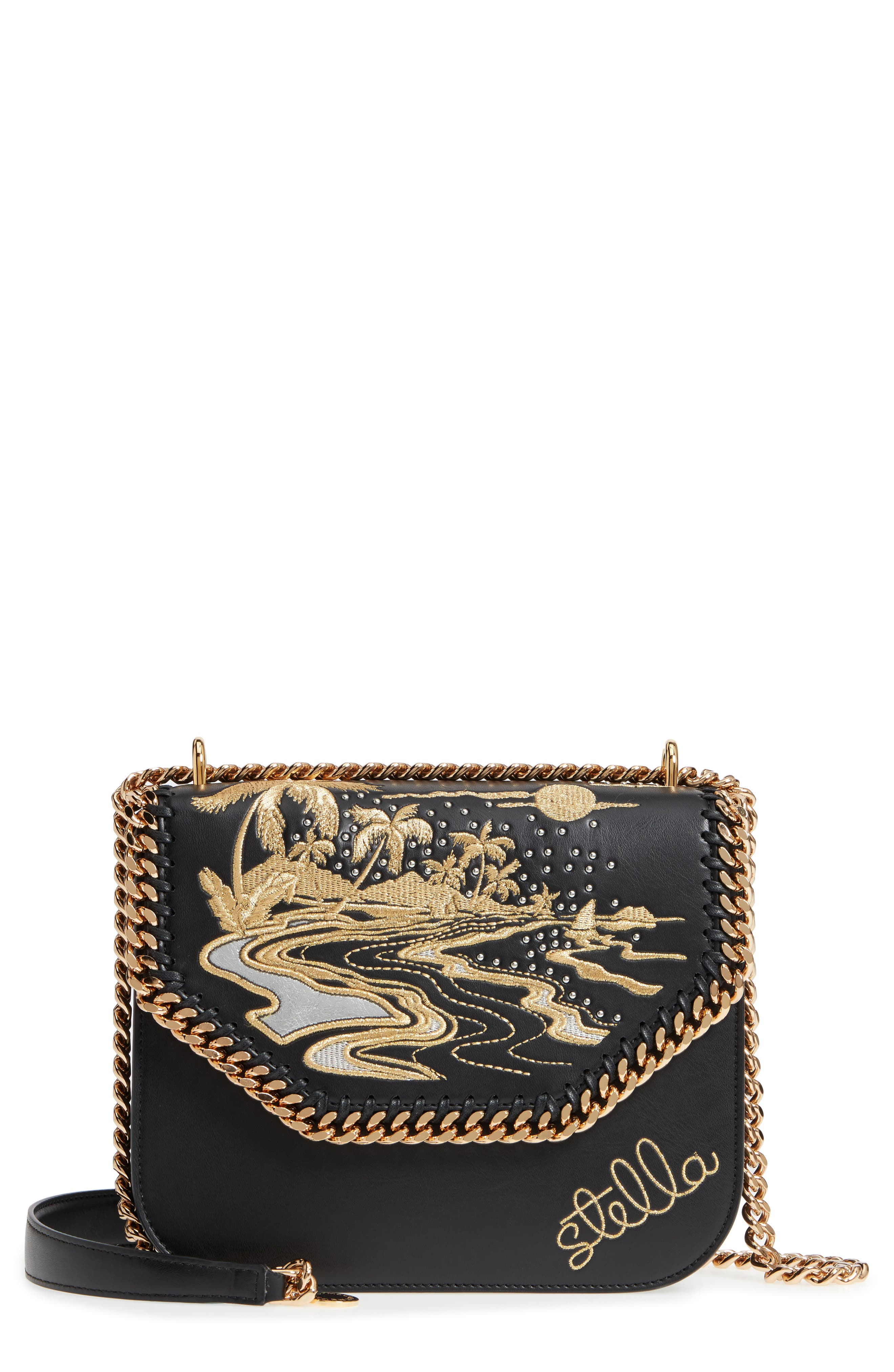 Falabella Hawaiian Embroidered Faux Leather Shoulder Bag,                         Main,                         color, Black/ Gold