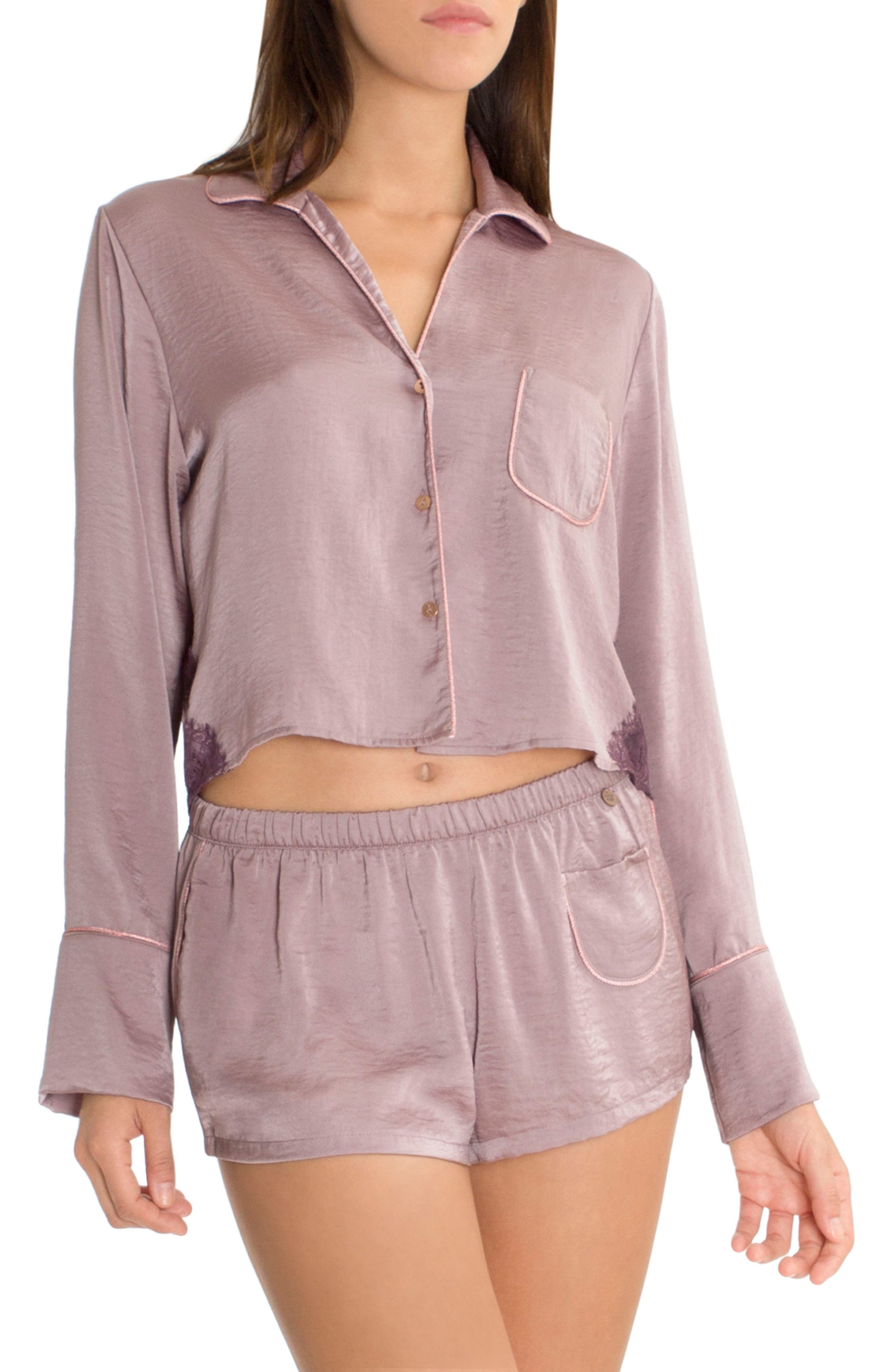 Crop Pajama Top,                         Main,                         color, Lilac