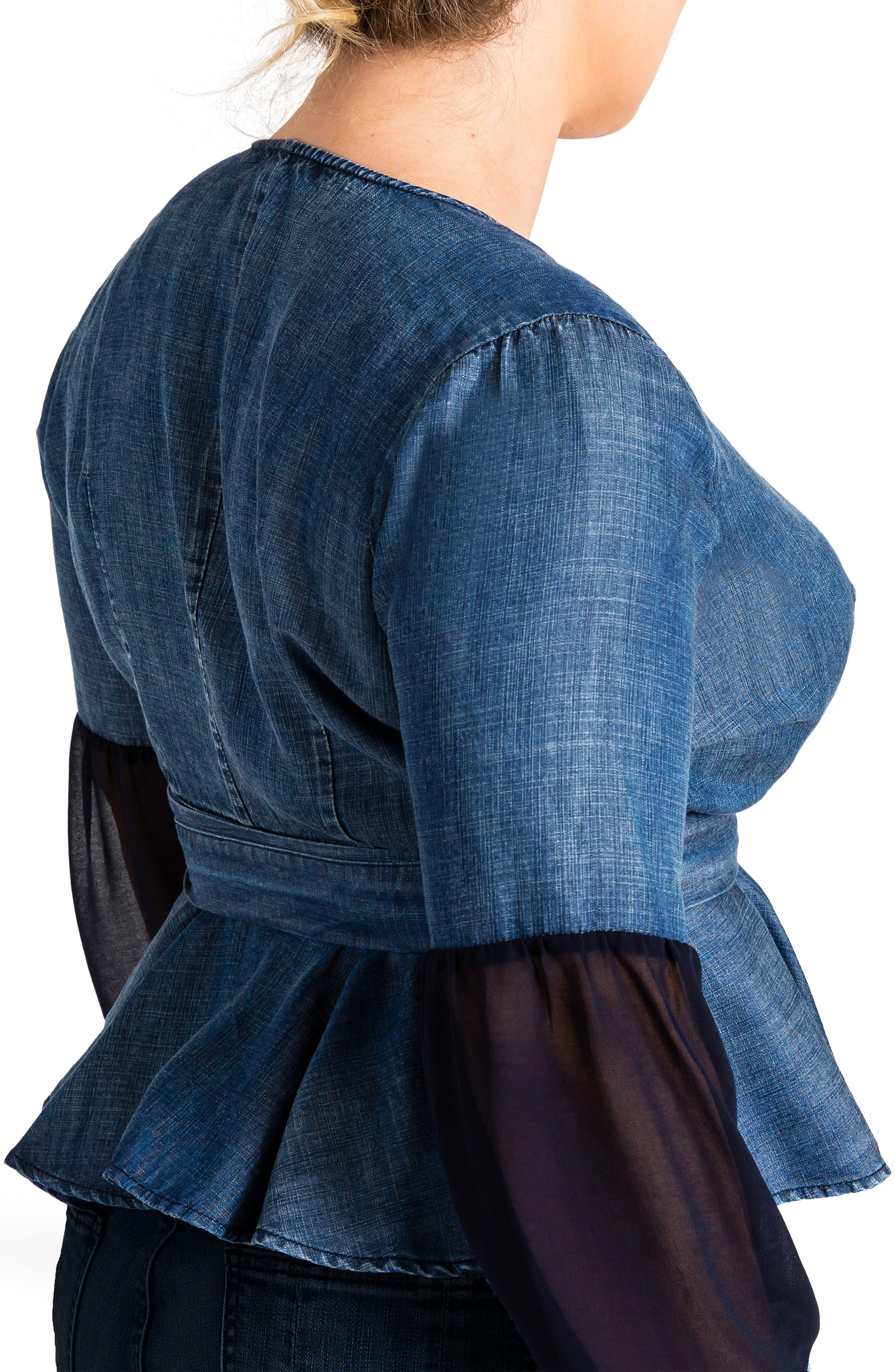 Letty Peplum Wrap Top,                             Alternate thumbnail 2, color,                             Medium Blue