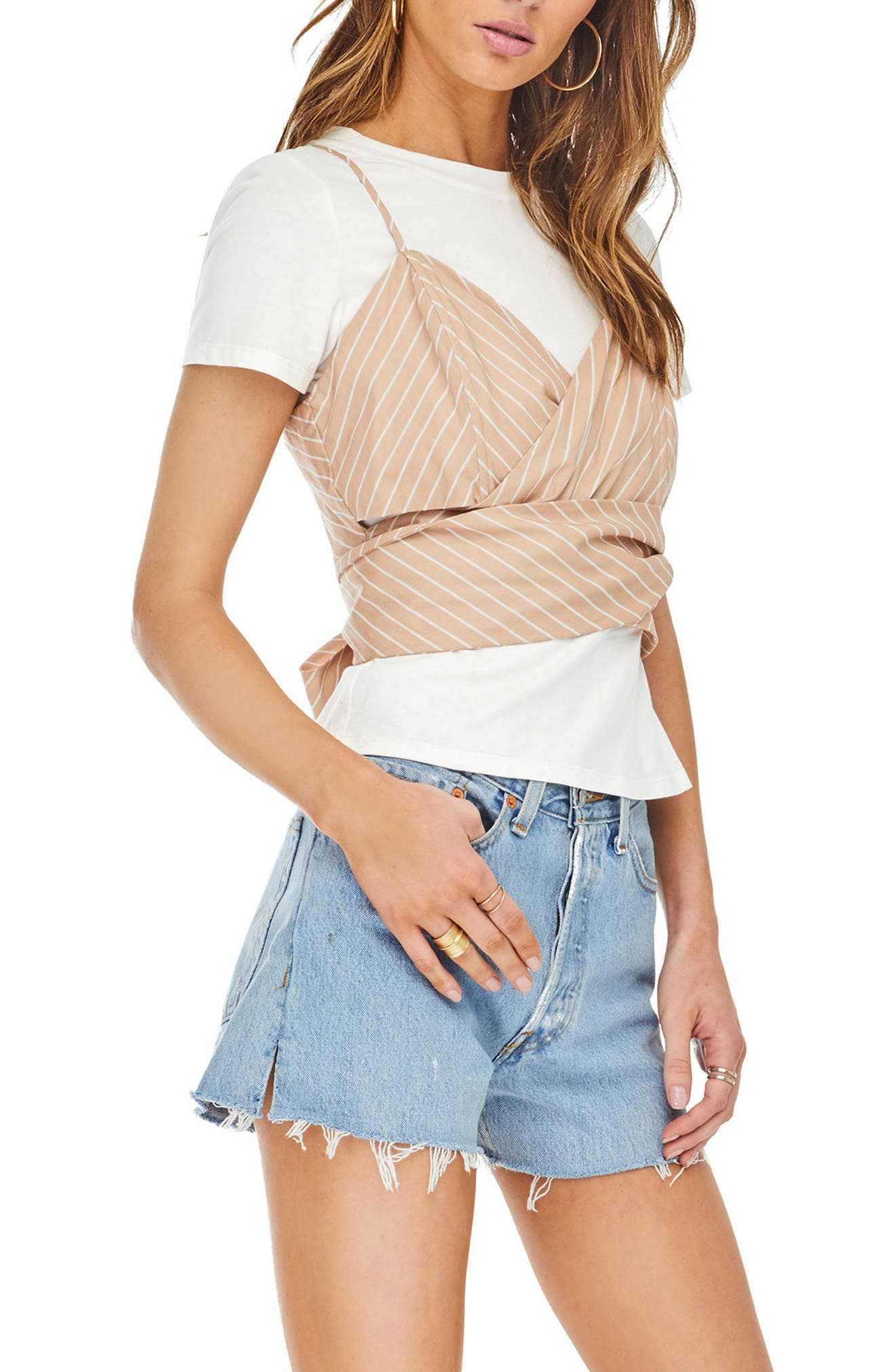 Maddie Layered Look Top,                             Alternate thumbnail 4, color,                             Dusty Blush Stripe