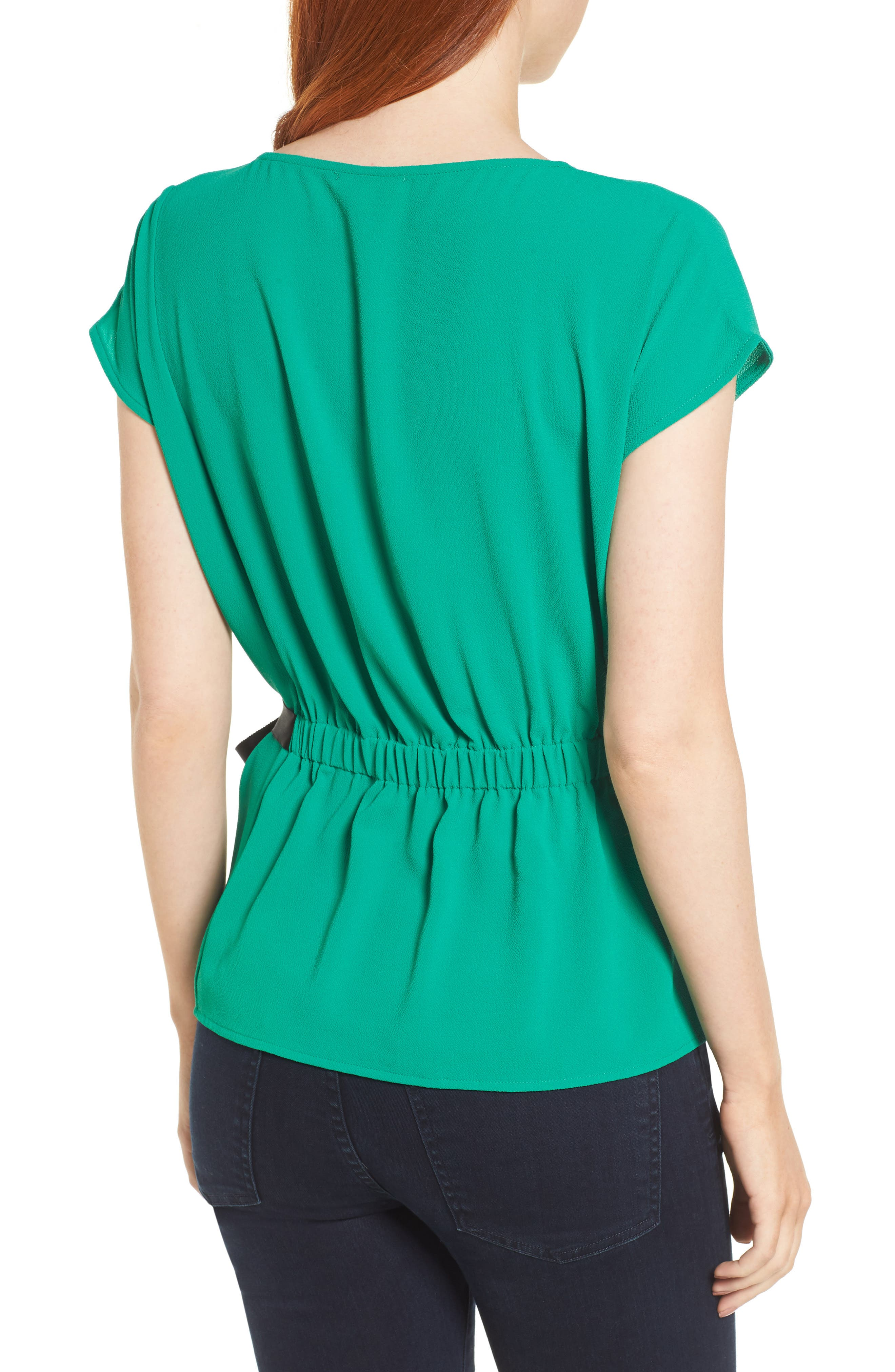 Gathered Waist Side Tie Top,                             Alternate thumbnail 2, color,                             Kelly Green With Black Tie
