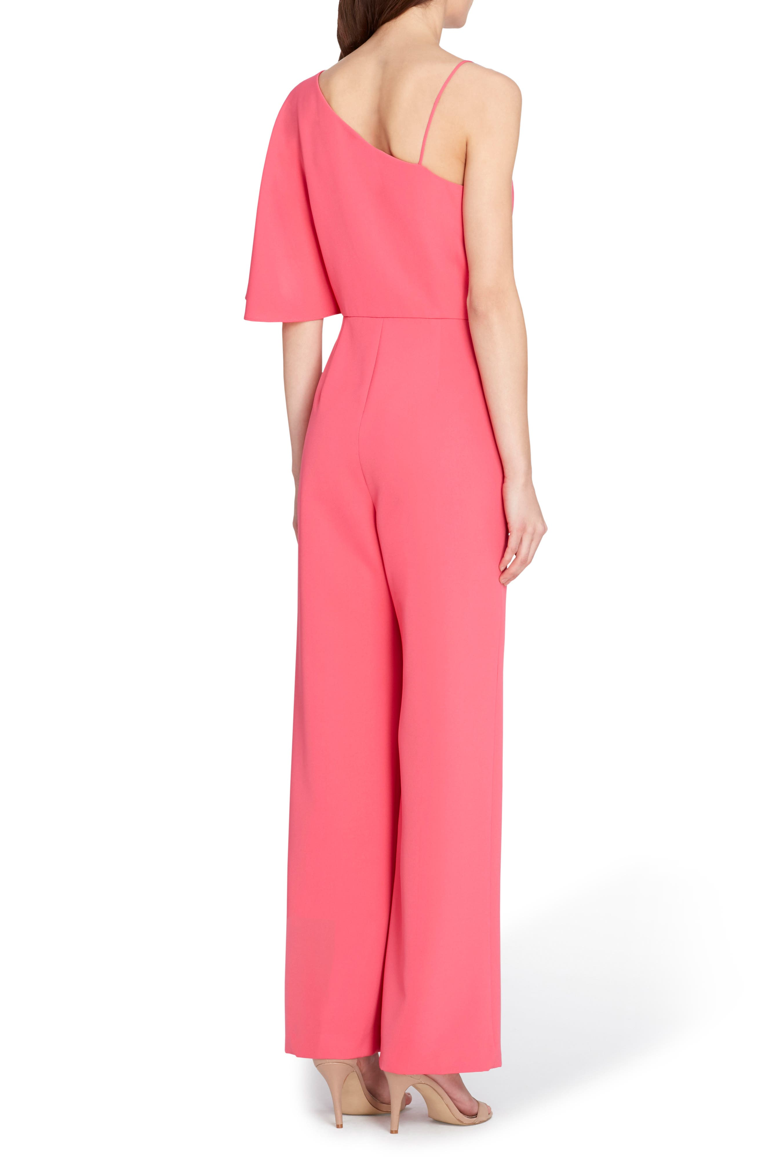 Asymmetrical Bell Bottom Jumpsuit,                             Alternate thumbnail 2, color,                             Paradise Pink