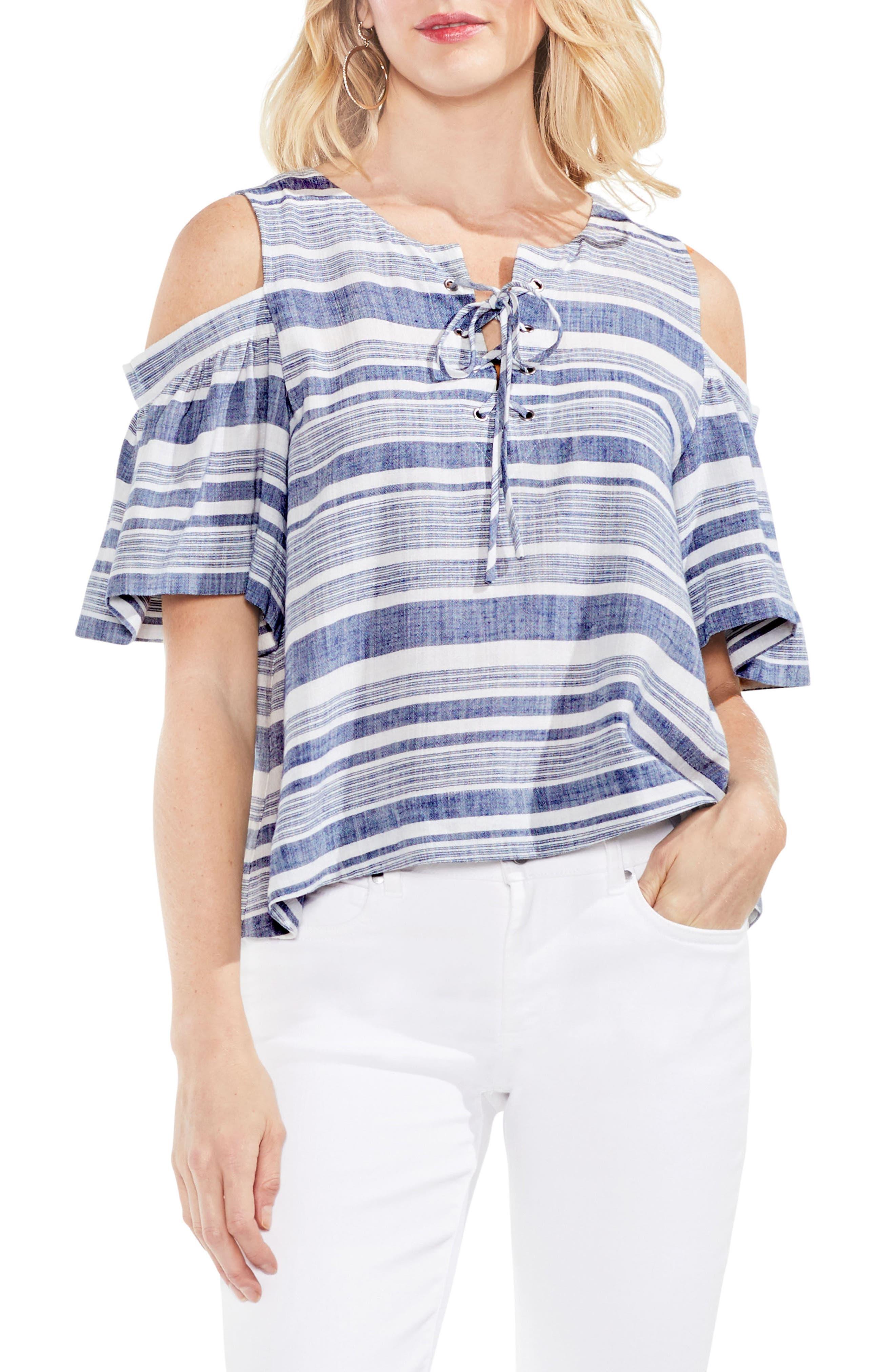 Stripe Cold Shoulder Lace-Up Blouse,                             Main thumbnail 1, color,                             High Tide