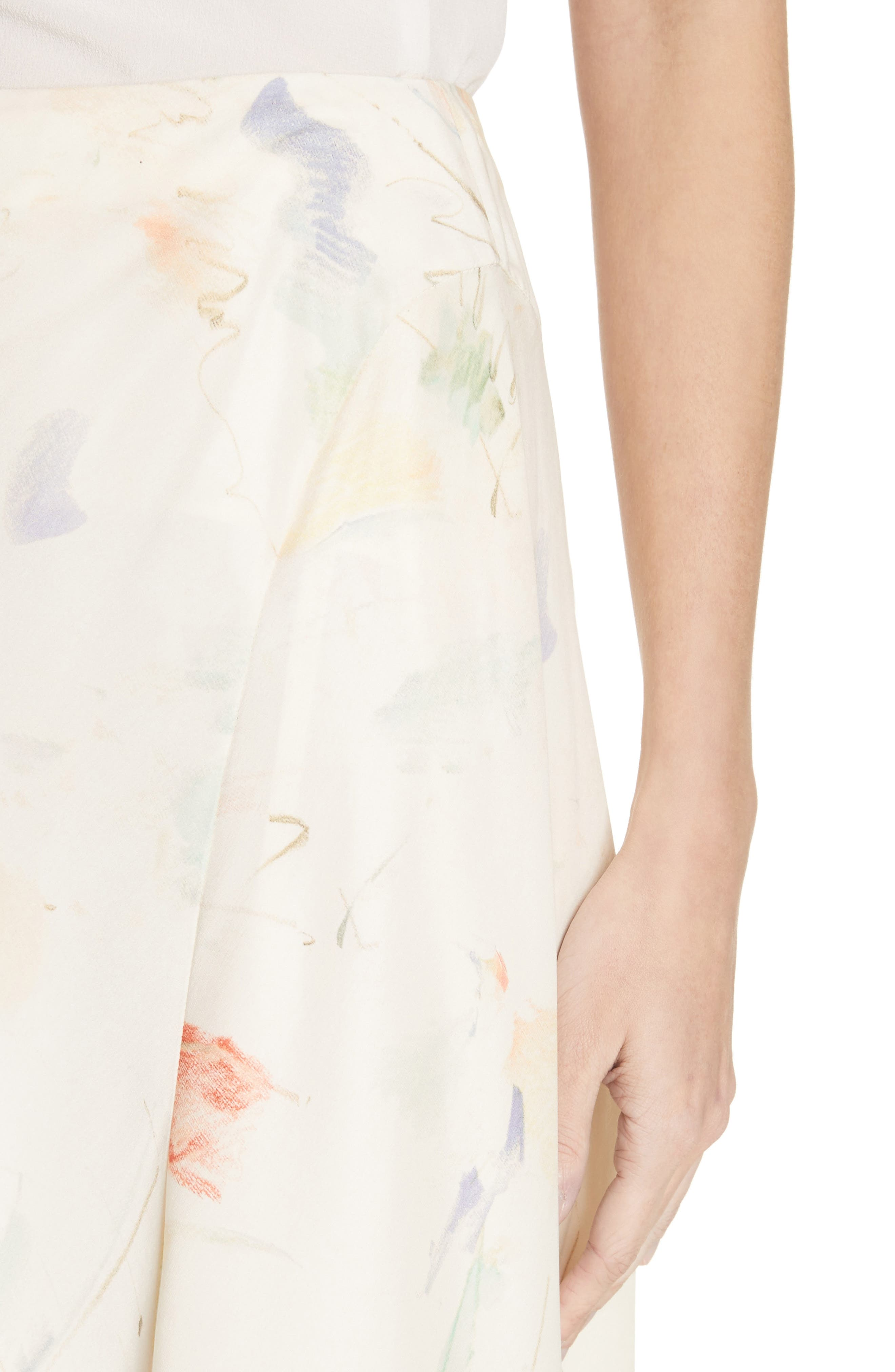 Dessie Modern Muse Print Silk Midi Skirt,                             Alternate thumbnail 4, color,                             Raffia Multi