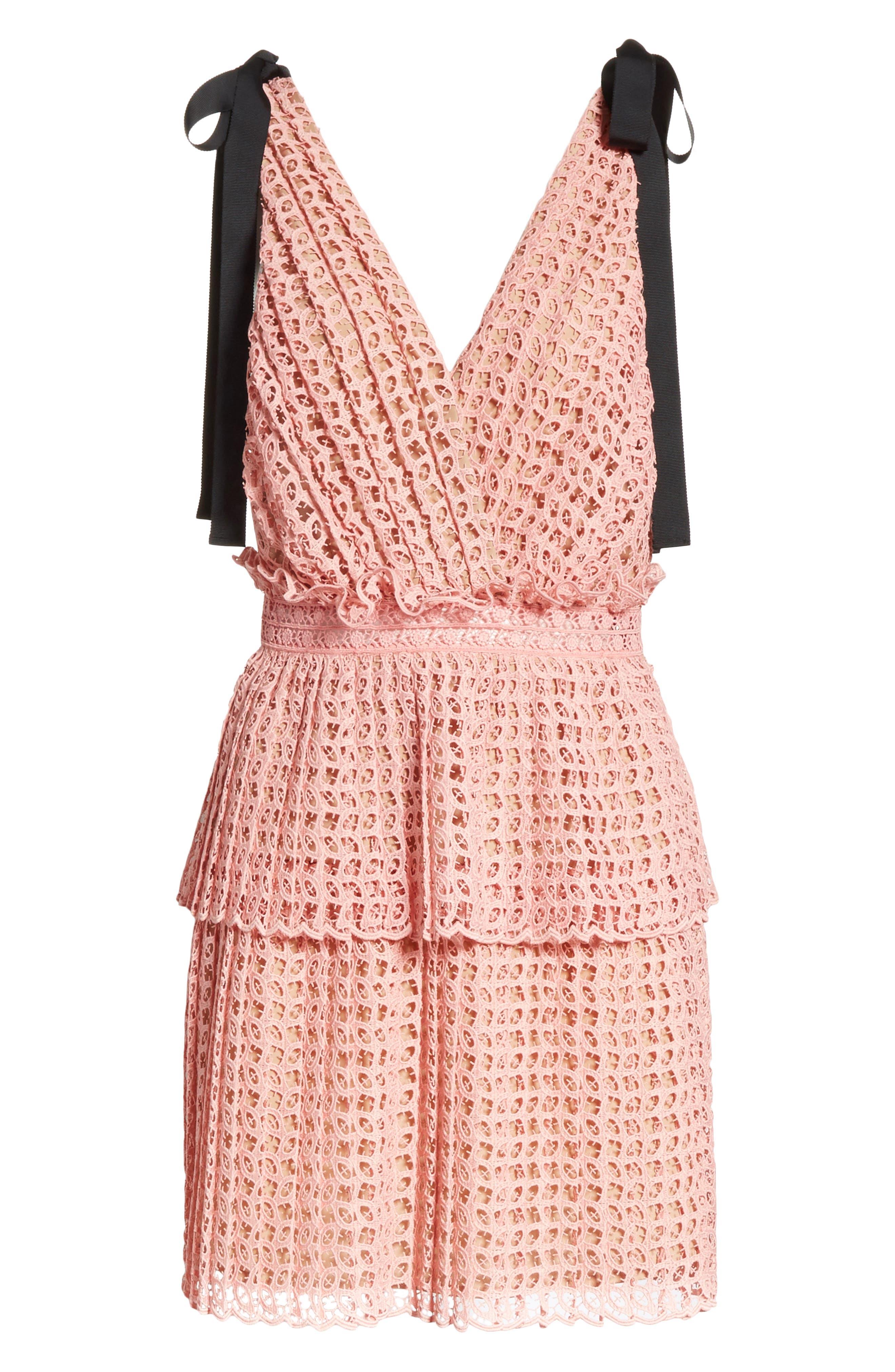 Tie Strap Cutwork Organza Dress,                             Alternate thumbnail 6, color,                             Pink