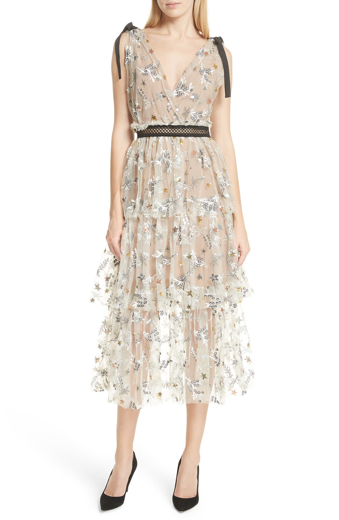 Main Image - Self-Portrait Sequin Mesh Tie Strap Midi Dress