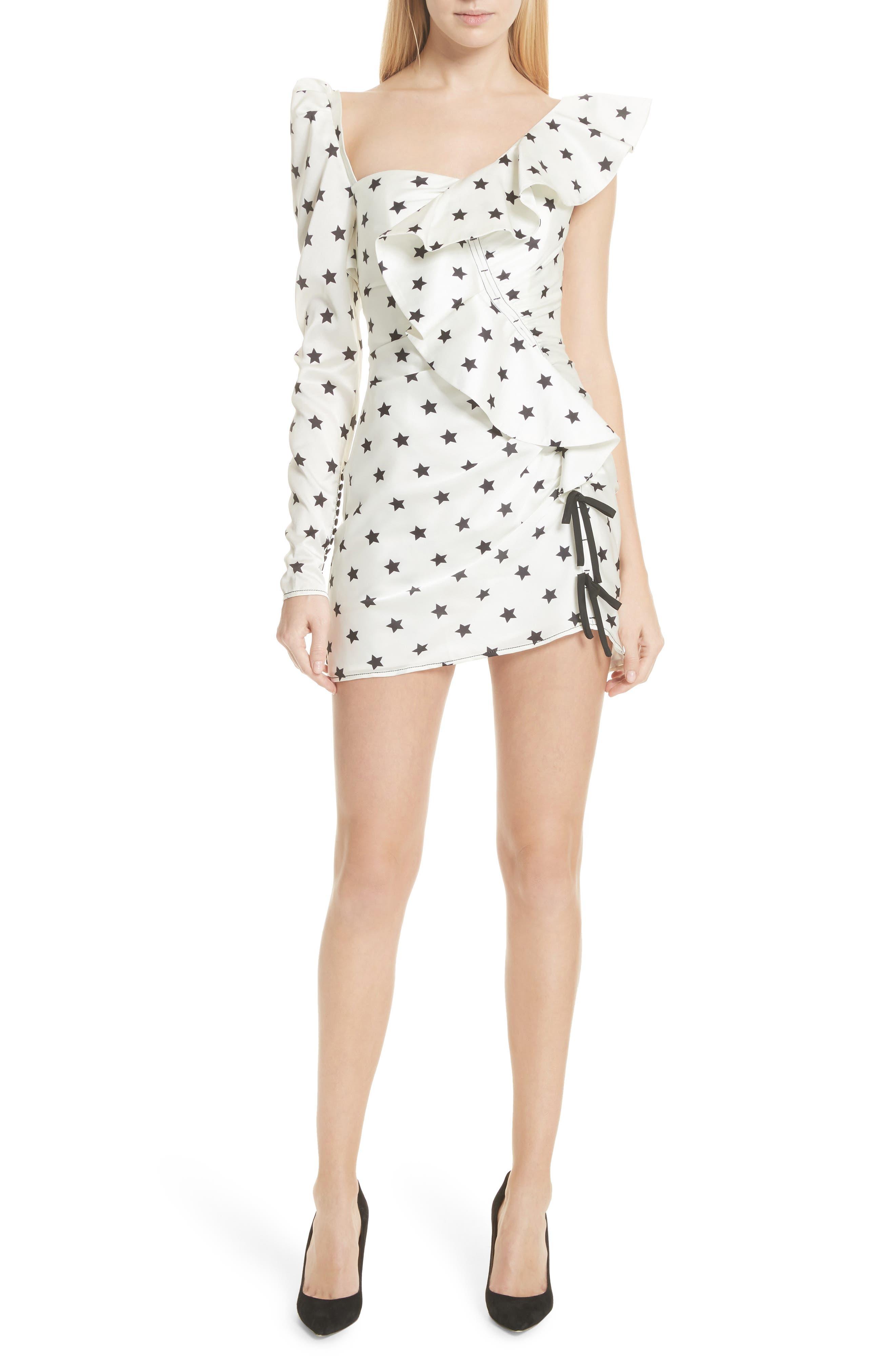 Self-Portrait Star Print Ruffle Detail Dress