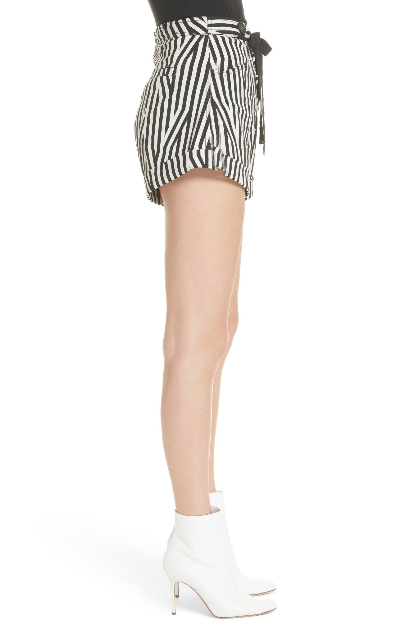 Abstract Stripe Lace-Up Shorts,                             Alternate thumbnail 3, color,                             Black/ White