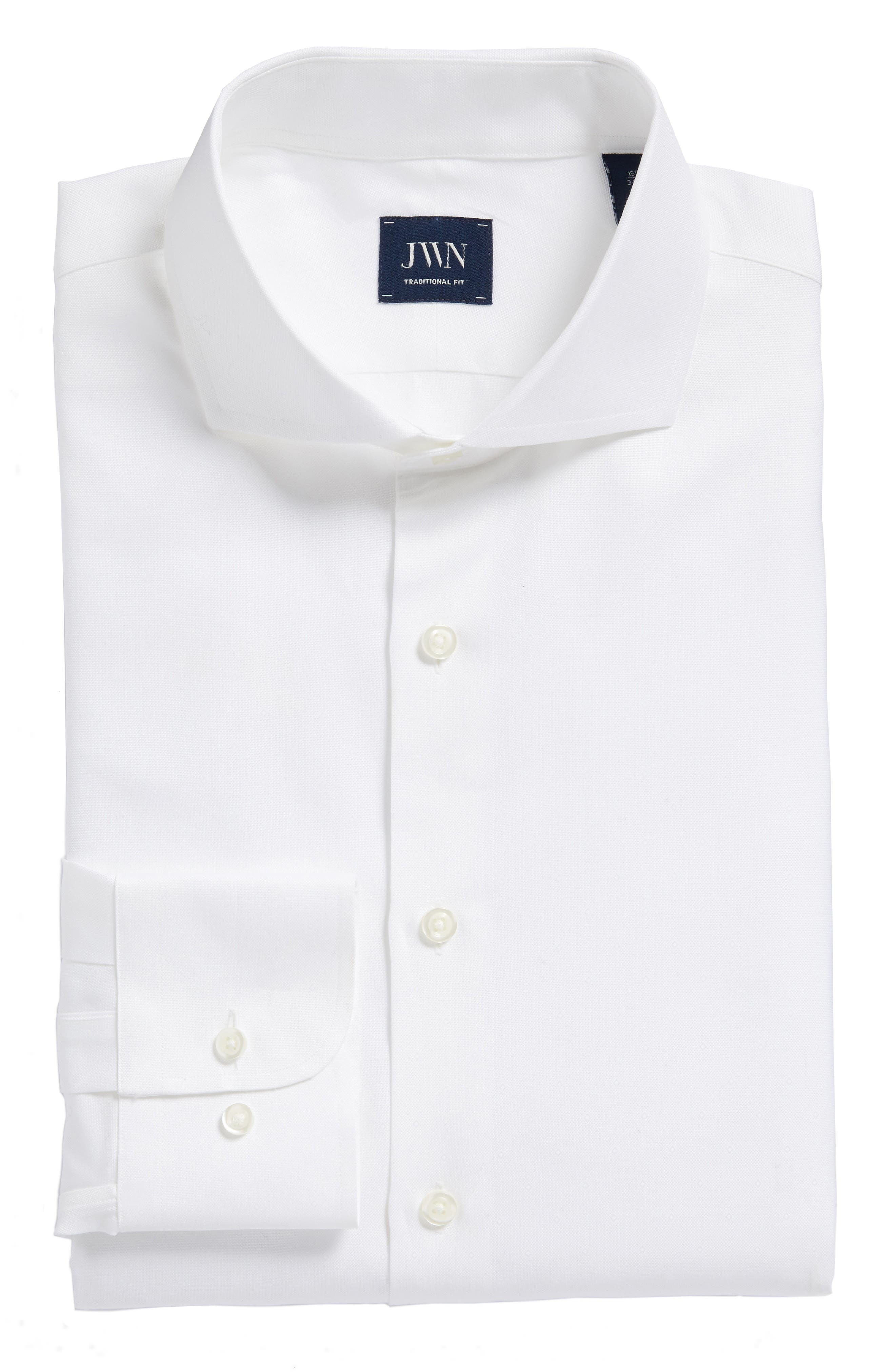 Traditional Fit Solid Dress Shirt,                             Alternate thumbnail 6, color,                             White