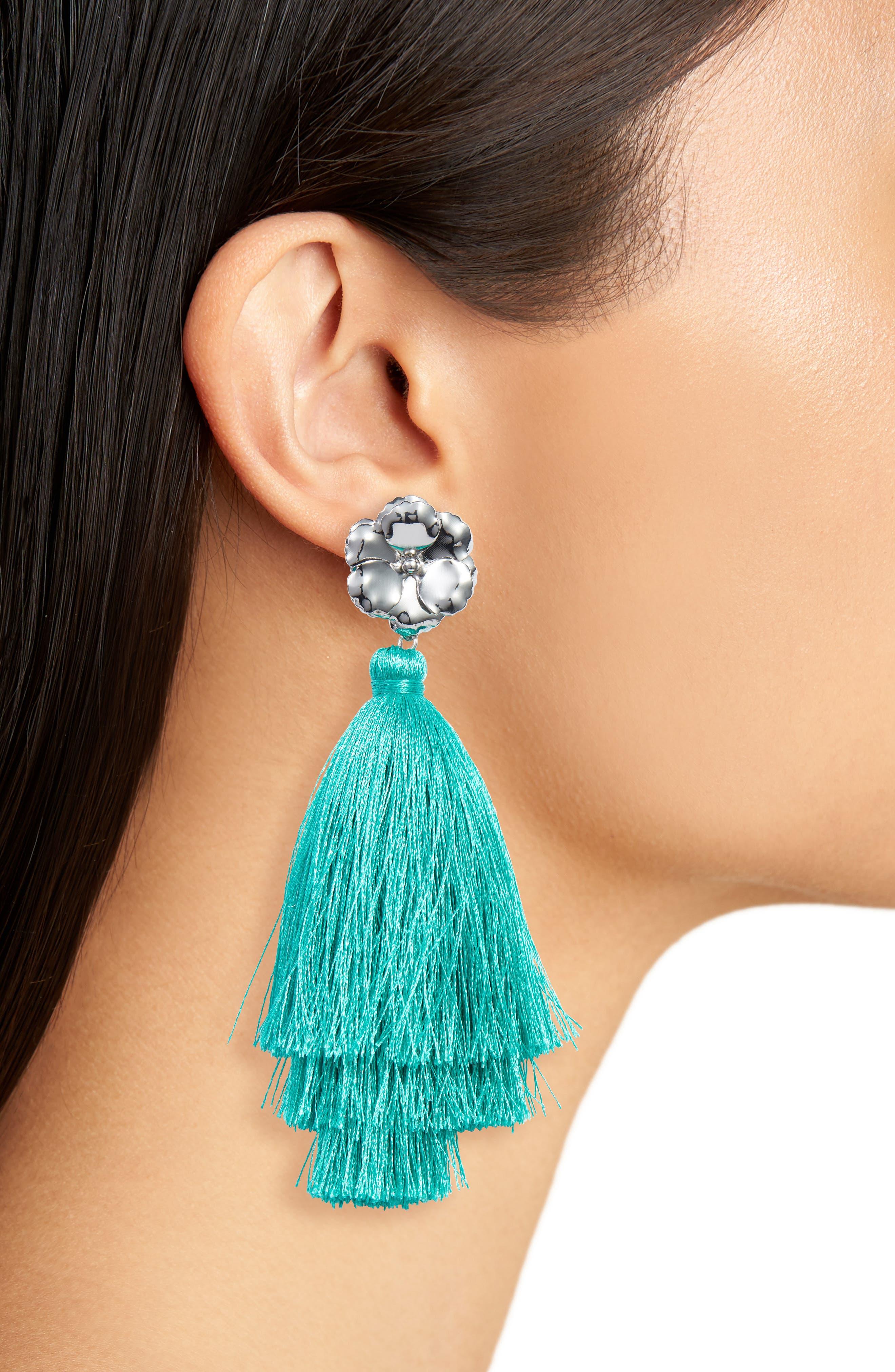 Halogen Floral Tassel Drop Earrings,                             Alternate thumbnail 2, color,                             Teal- Rhodium