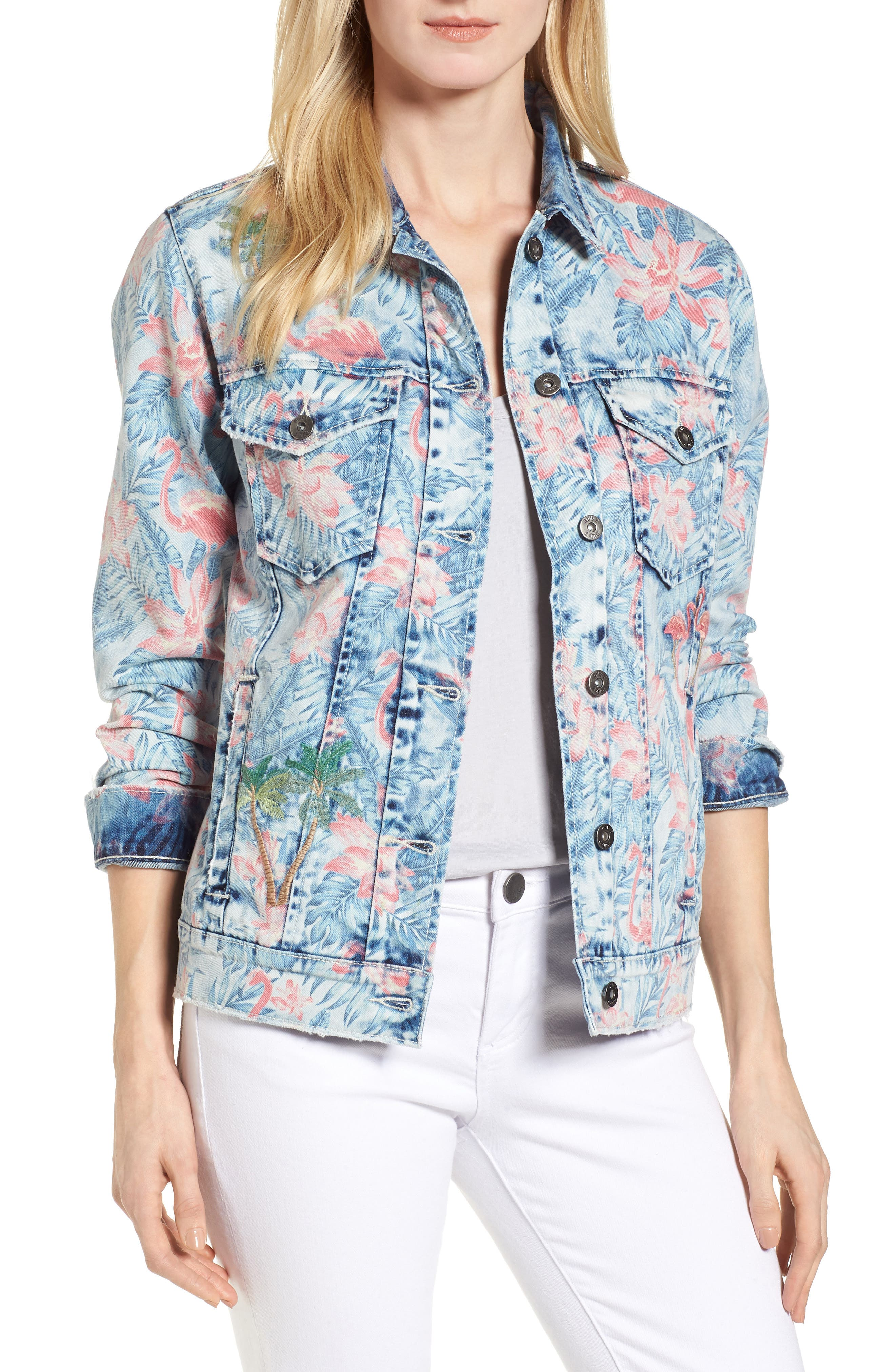 Embroidered Floral Denim Jacket,                             Main thumbnail 1, color,                             Light Blue Paradise