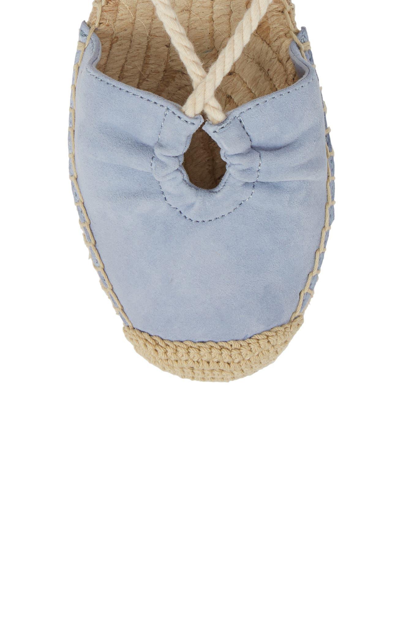 Frey Ankle Tie Espadrille Flat,                             Alternate thumbnail 5, color,                             Lavender Blue Suede