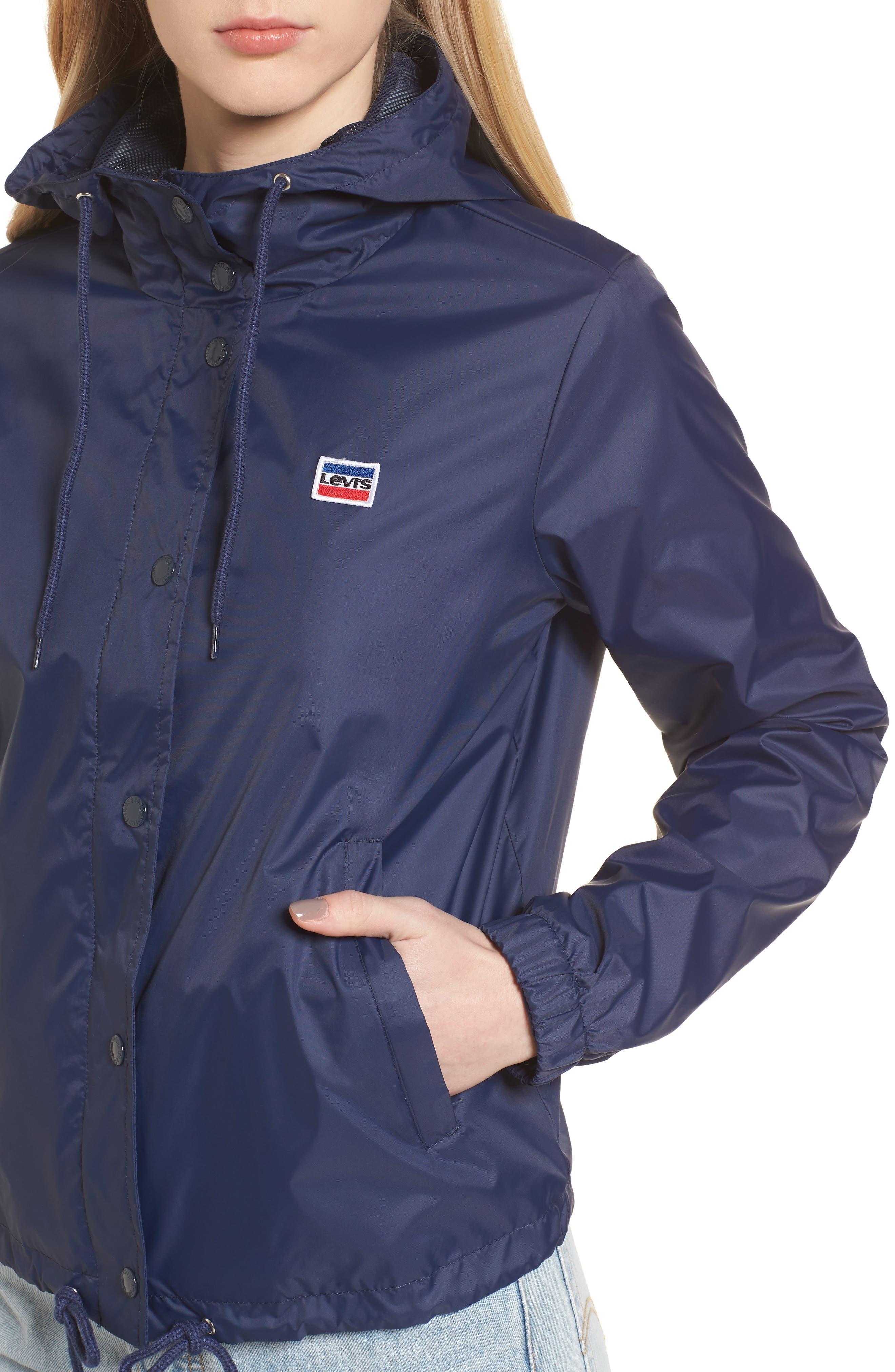 Retro Hooded Coach's Jacket,                             Alternate thumbnail 4, color,                             Navy