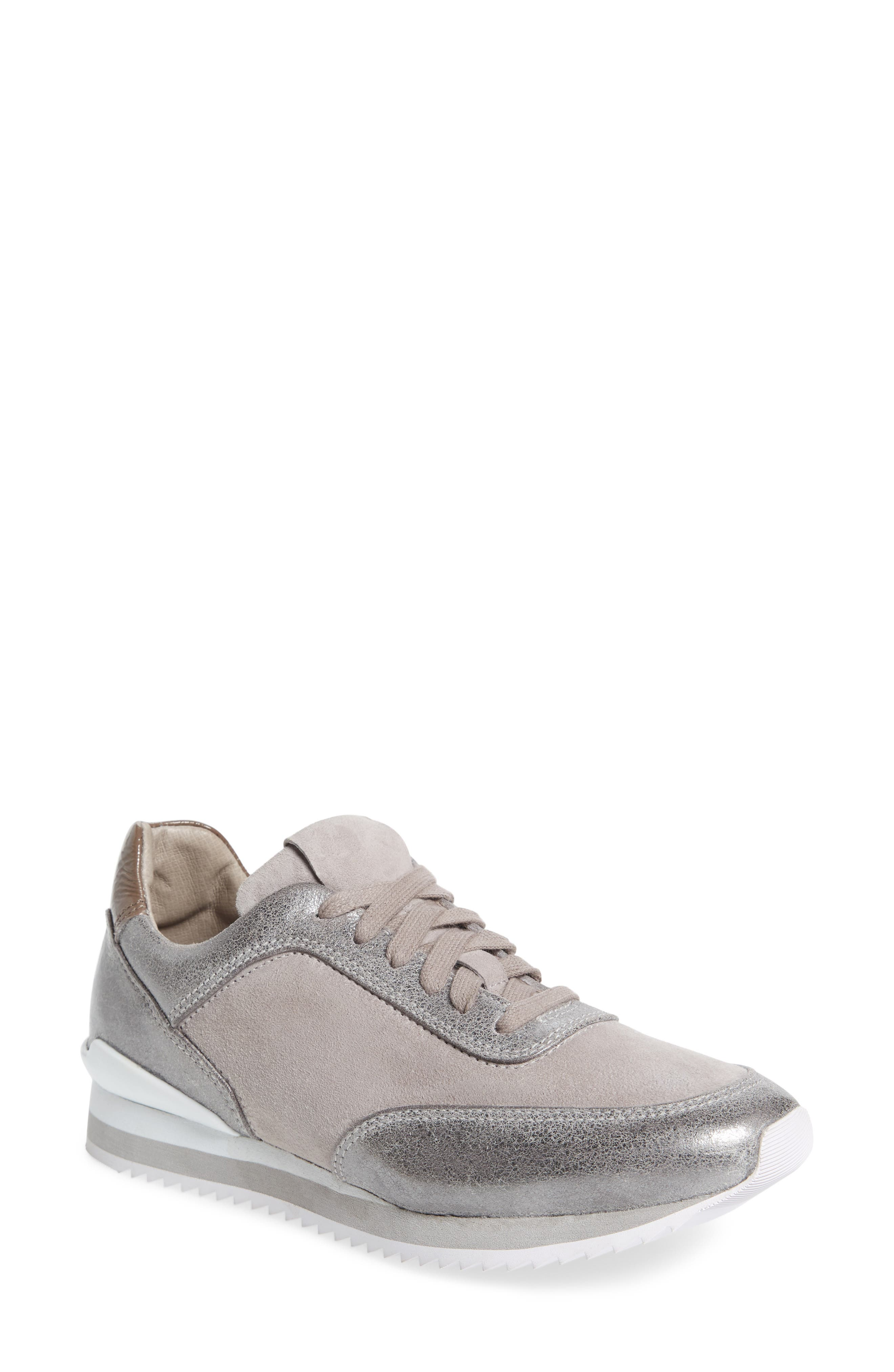Jules Sneaker,                         Main,                         color, Pewter Leather/ Suede