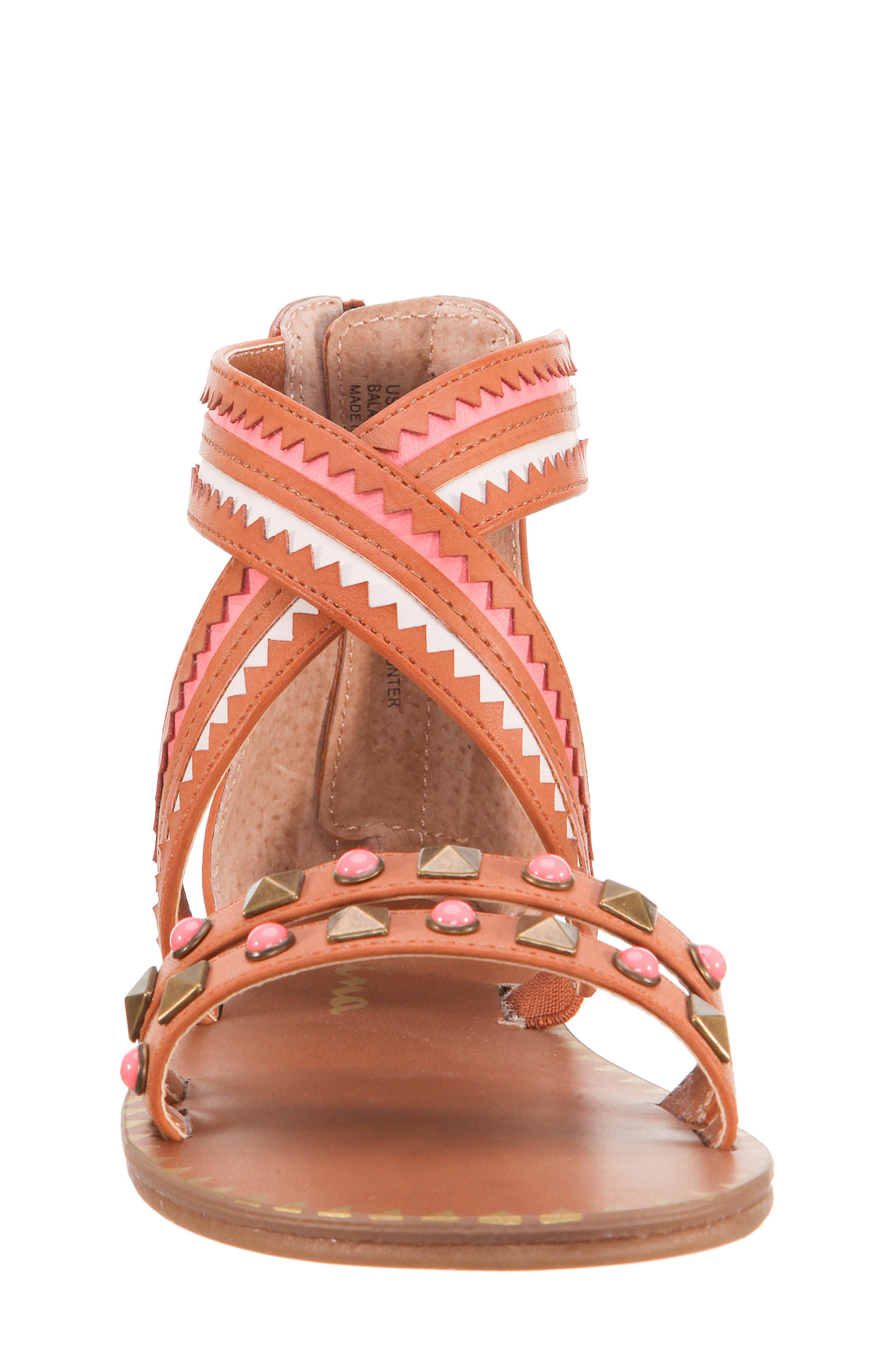 Phelisha Embellished Gladiator Sandal,                             Alternate thumbnail 4, color,                             Tan Burnished