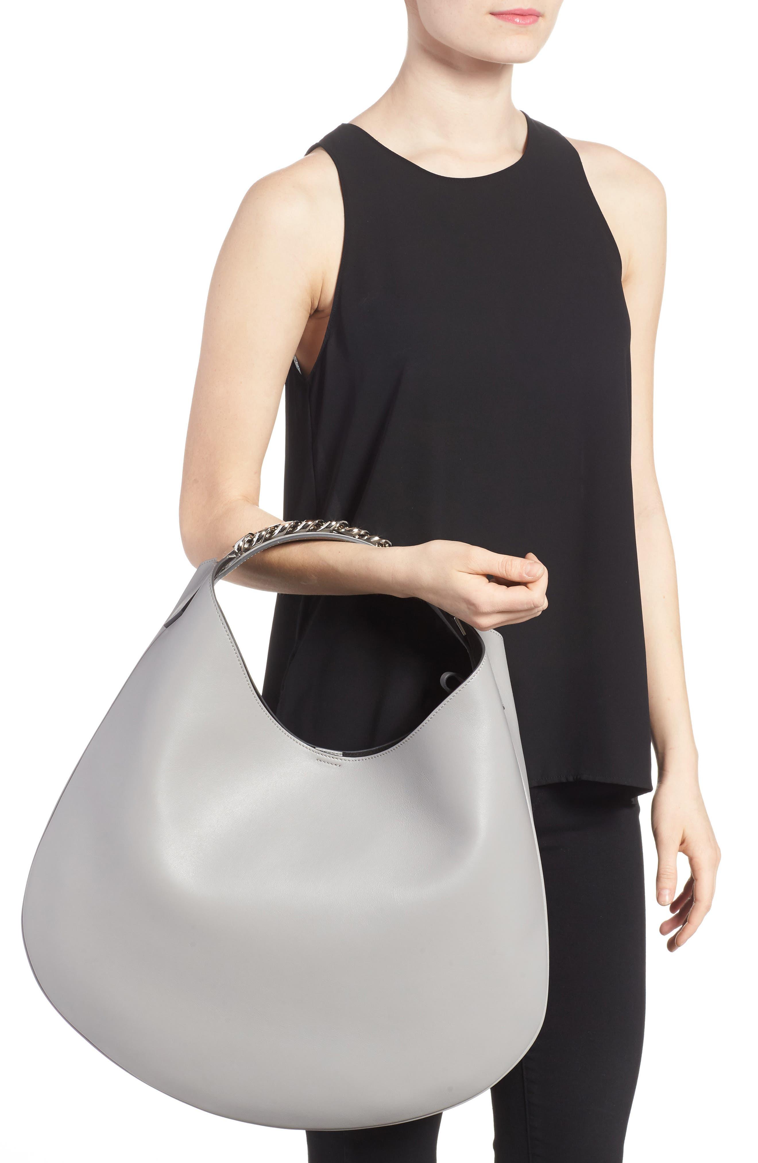 Medium Infinity Calfskin Leather Hobo,                             Alternate thumbnail 5, color,                             Pearl Grey
