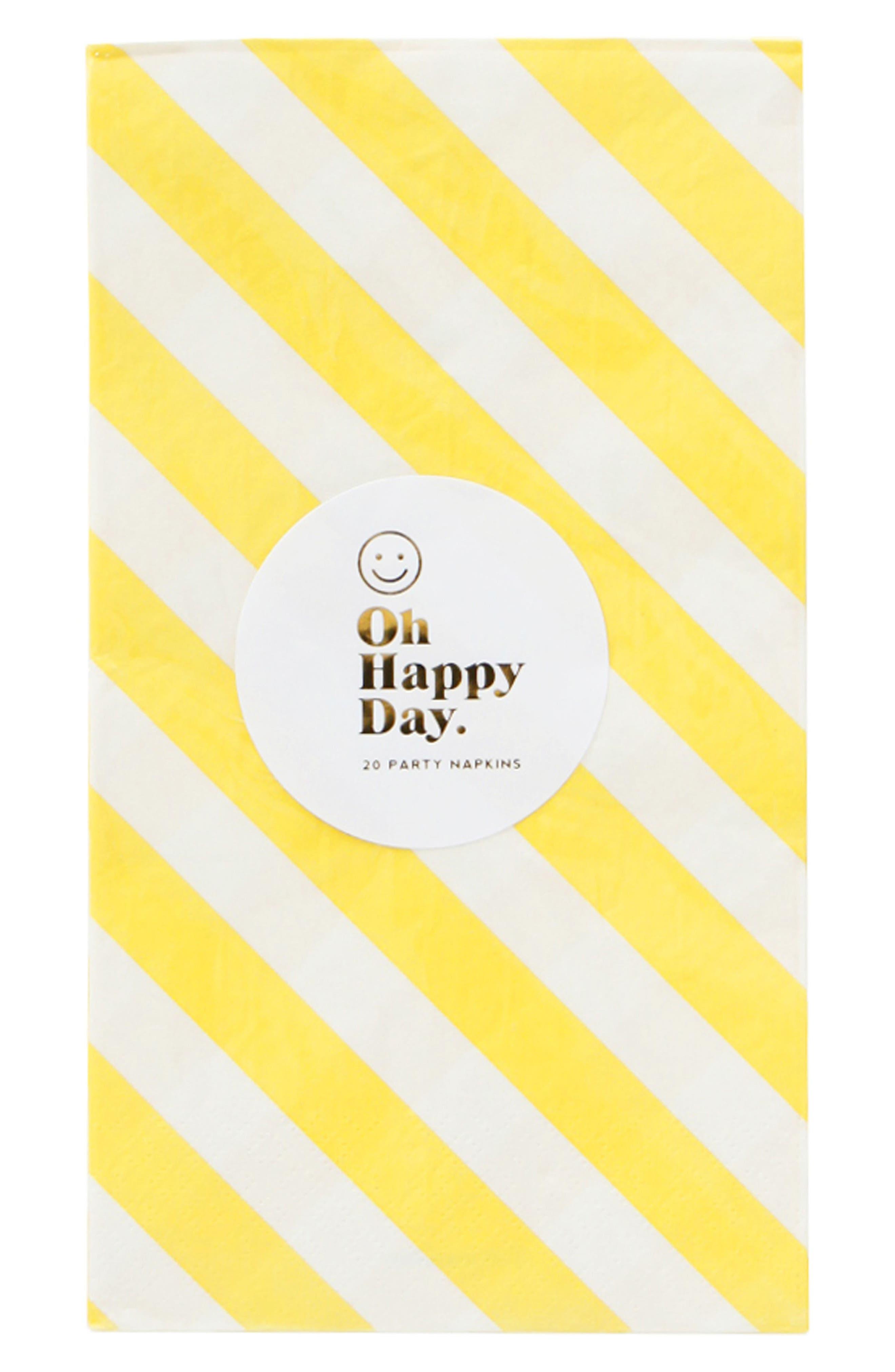 Oh Happy Day Happy Stripes Paper Dinner Napkins