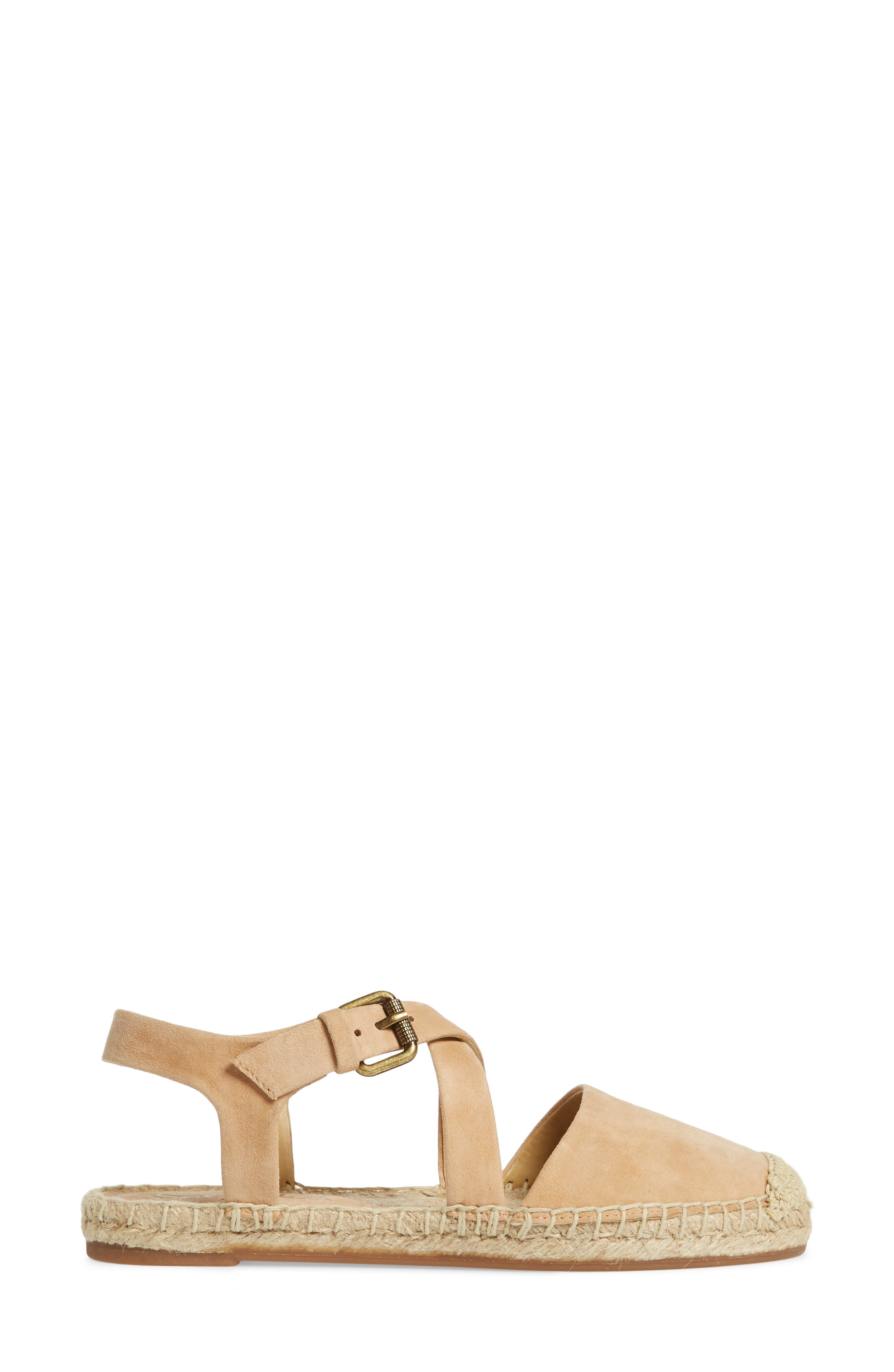 Foley Espadrille Flat,                             Alternate thumbnail 3, color,                             Nude Suede