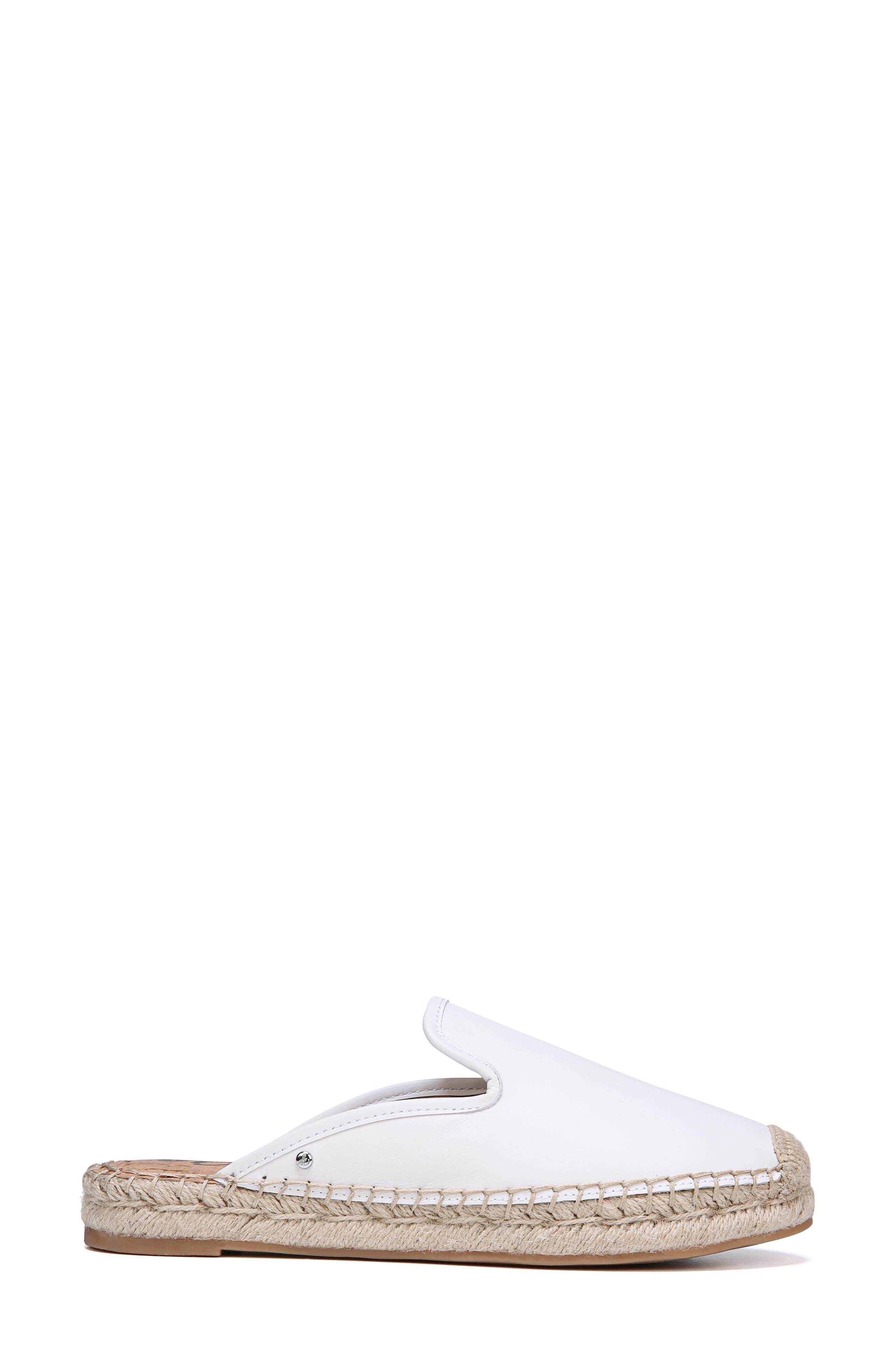 Kerry Espadrille Mule,                             Alternate thumbnail 3, color,                             Bright White Leather