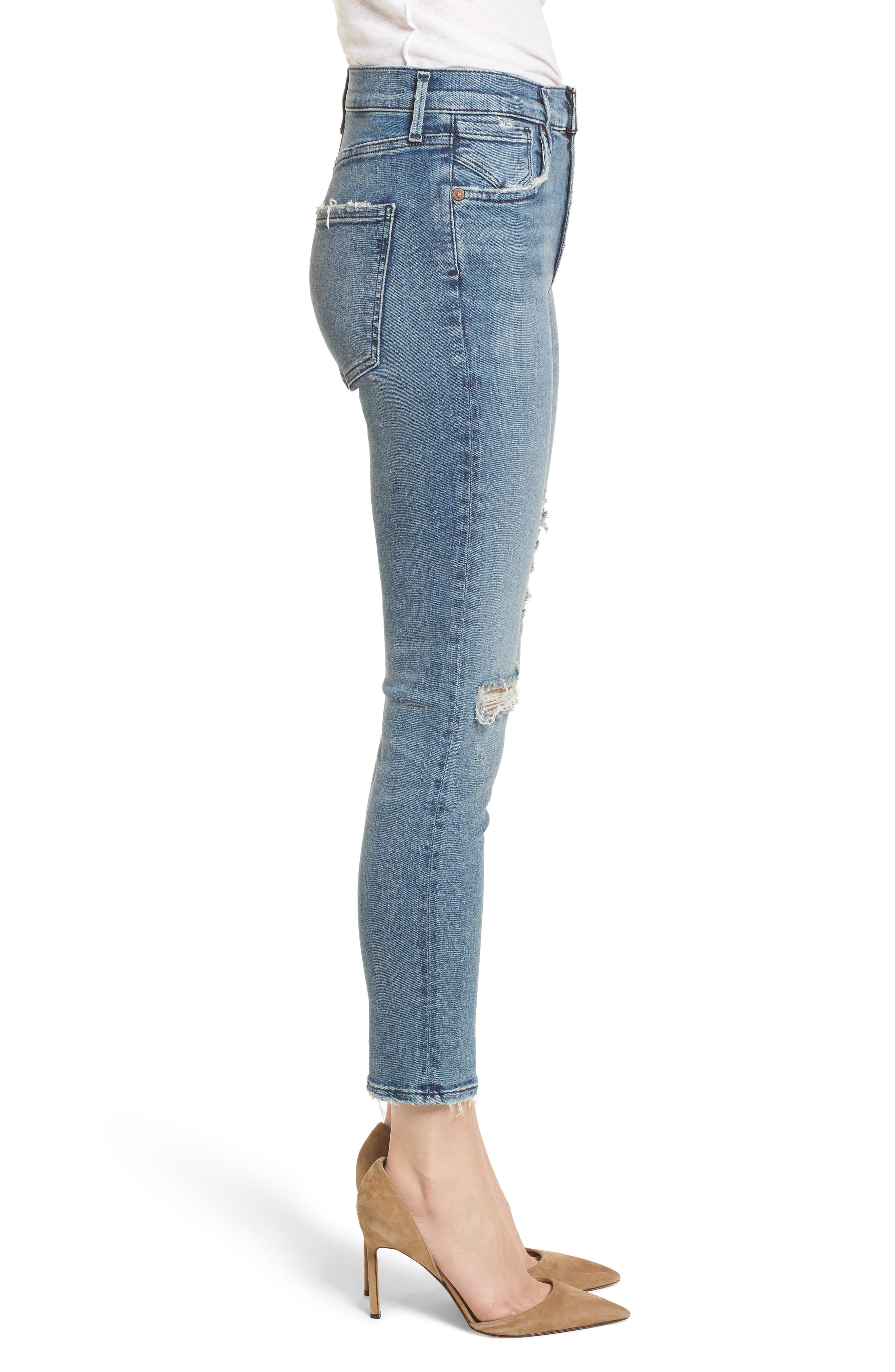 Sophie Ripped High Waist Crop Skinny Jeans,                             Alternate thumbnail 3, color,                             Spell