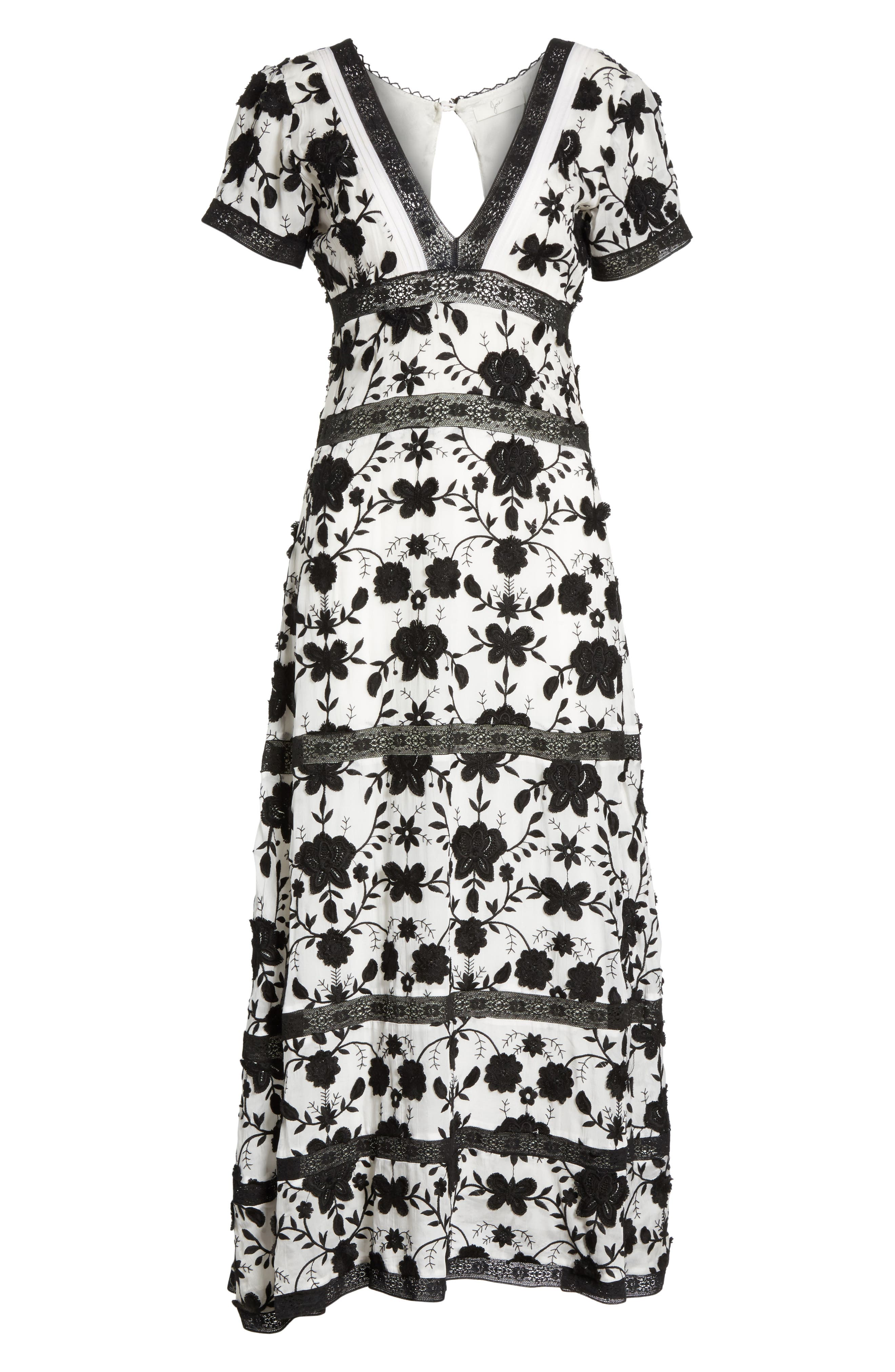 Fusca Floral Print Maxi Dress,                             Alternate thumbnail 6, color,                             Porcelain/ Caviar