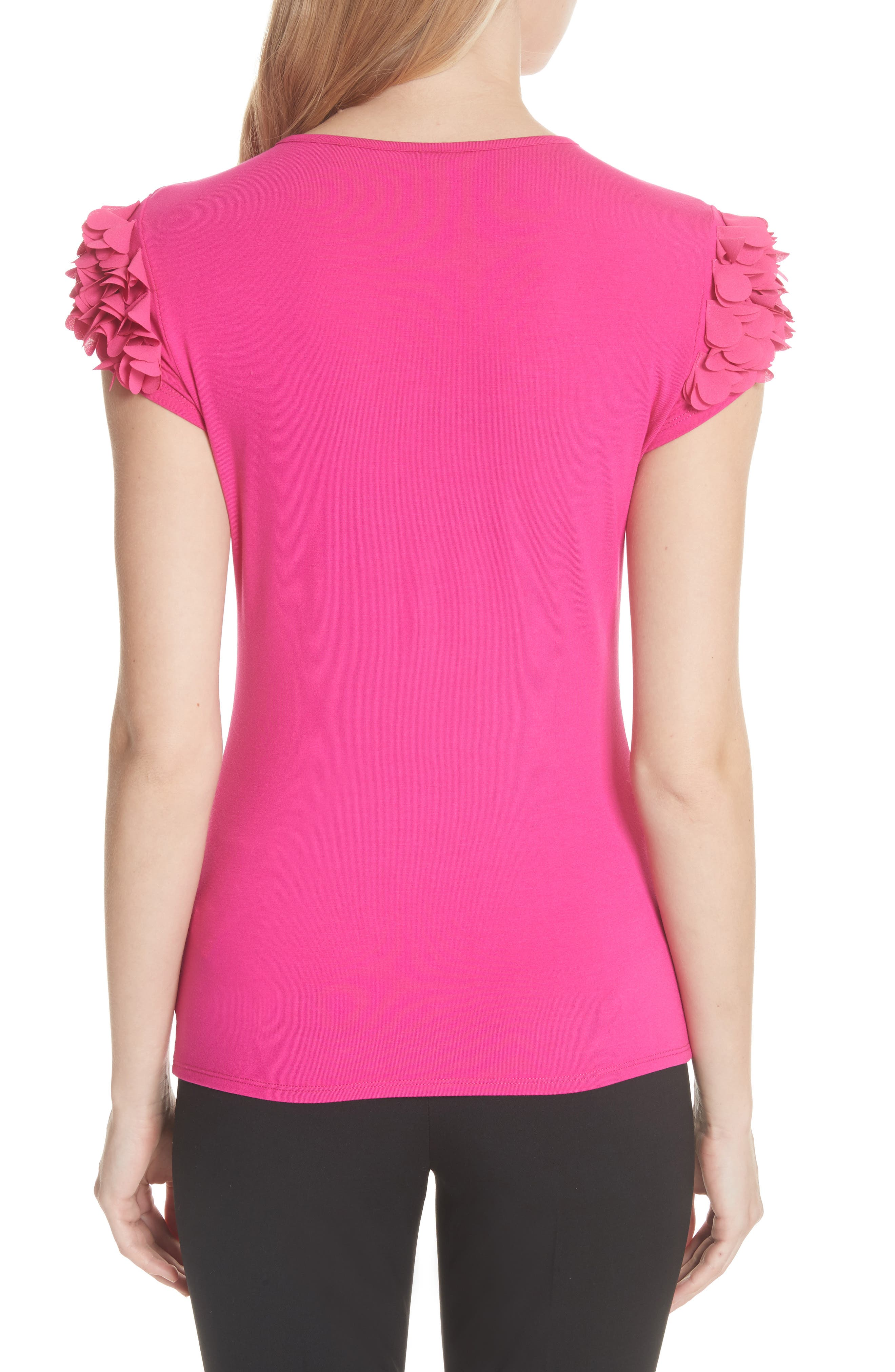 Floral Appliqué Sleeve Tee,                             Alternate thumbnail 2, color,                             Bright Pink