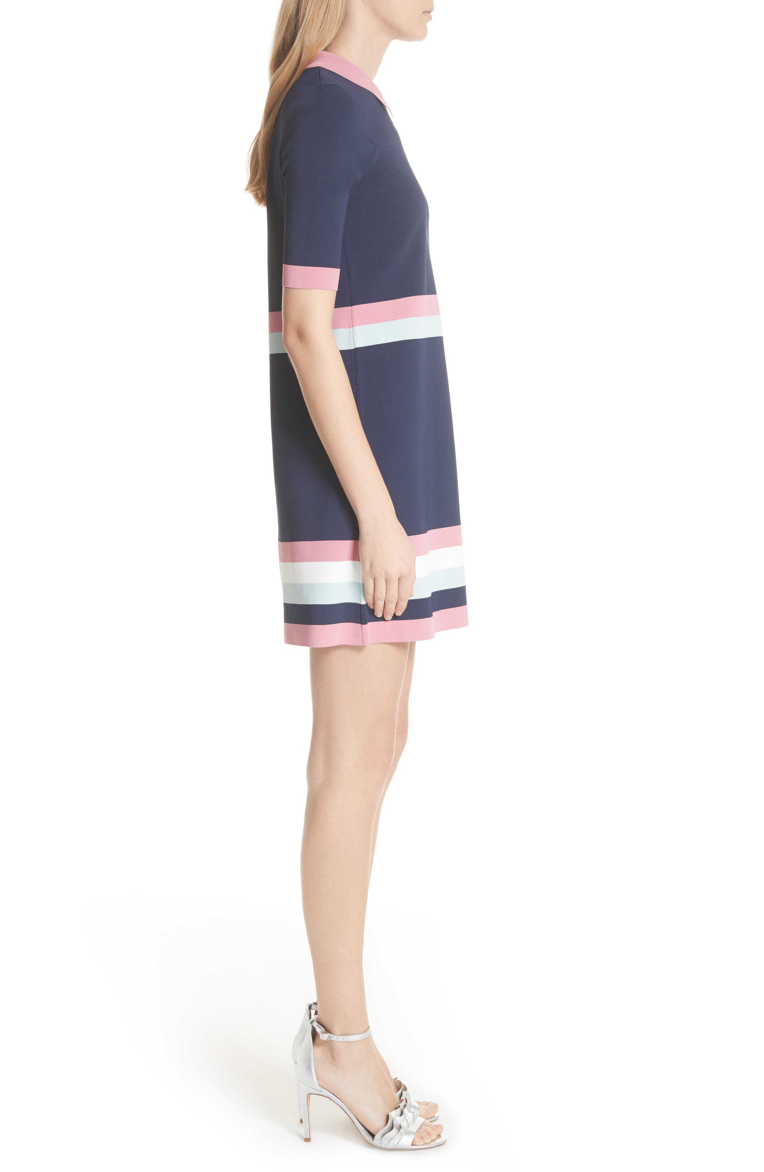 Colour by Numbers Border Stripe Dress,                             Alternate thumbnail 3, color,                             Blue