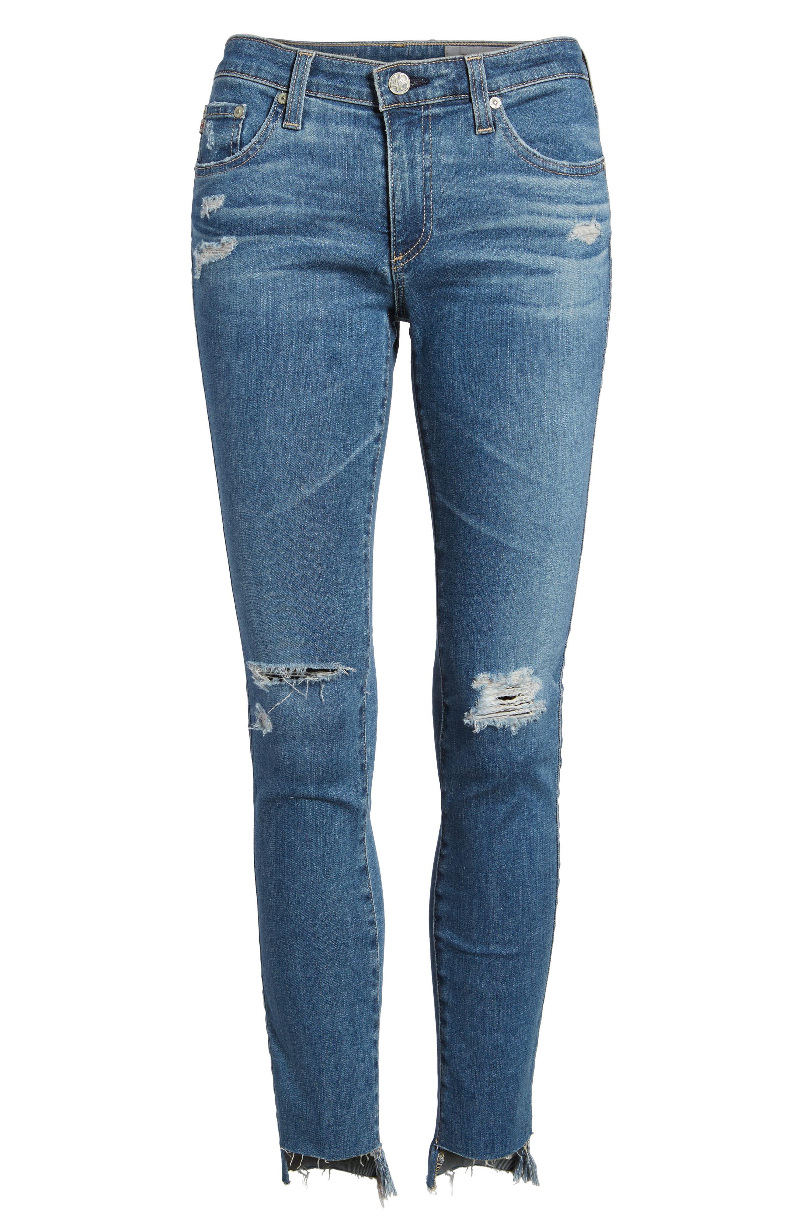 The Legging Raw Step Hem Ankle Skinny Jeans,                             Alternate thumbnail 6, color,                             10 Years-Sea Mist Destructed