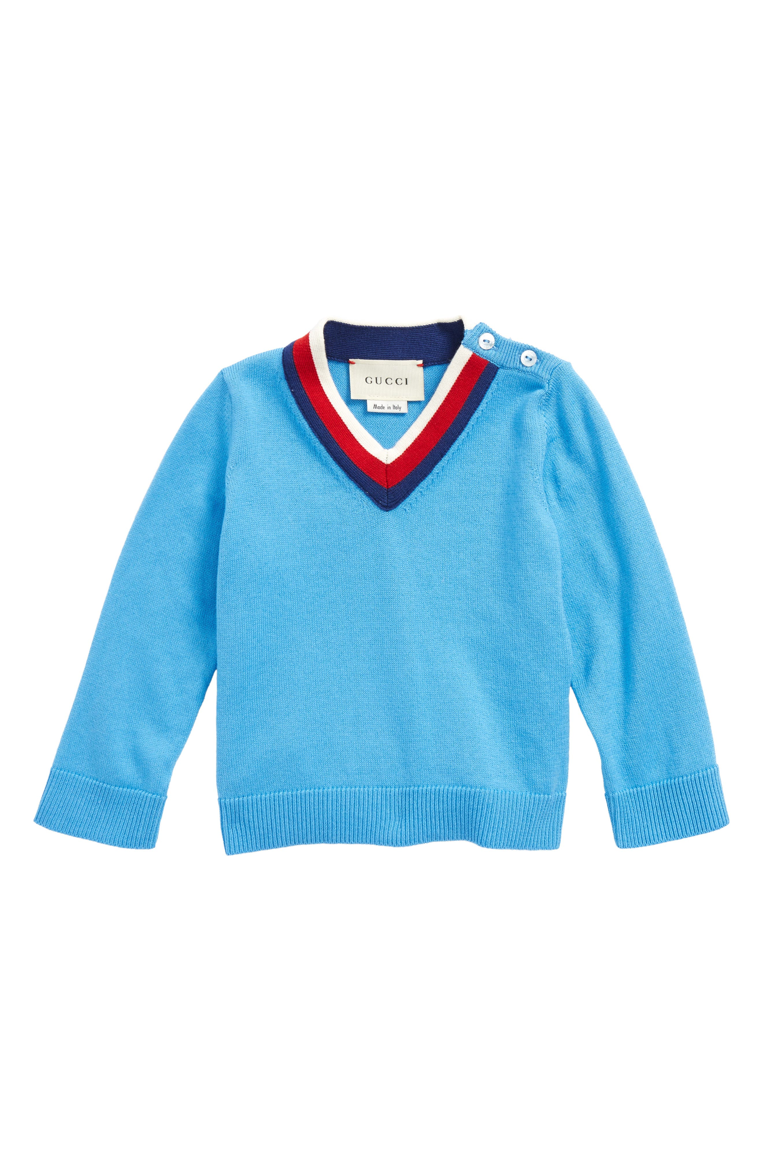 V-Neck Sweater,                             Main thumbnail 1, color,                             Royal/ Ivory