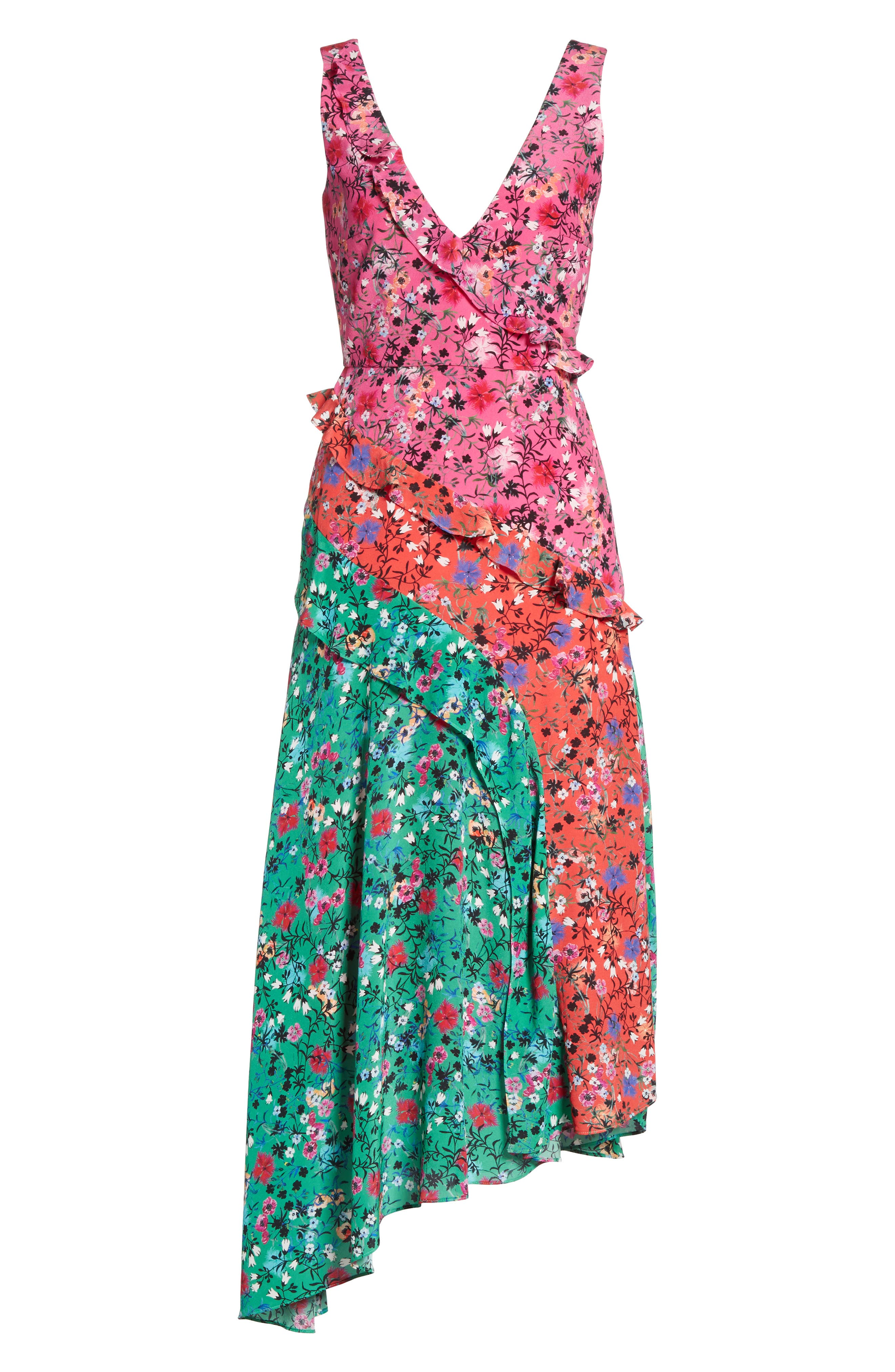 Aggie Floral Print Silk Dress,                             Alternate thumbnail 6, color,                             Pink Meadow