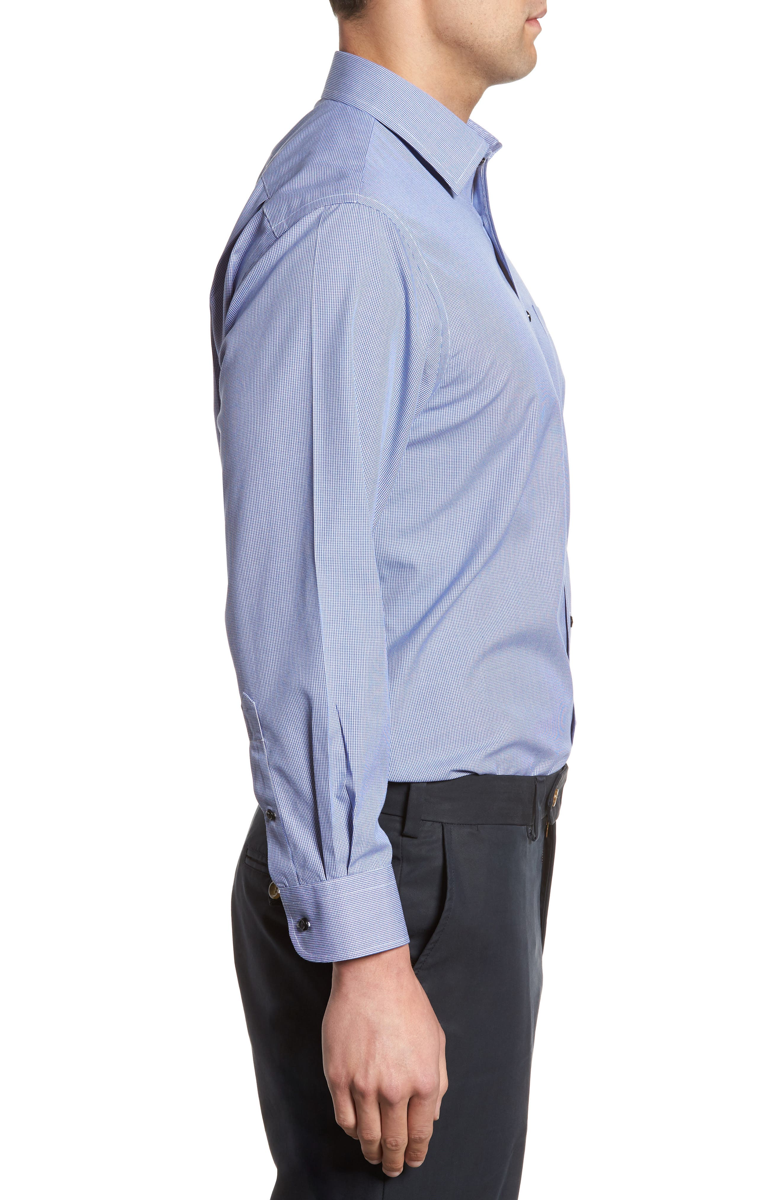 Smartcare<sup>™</sup> Traditional Fit Micro Check Dress Shirt,                             Alternate thumbnail 4, color,                             Blue Marine