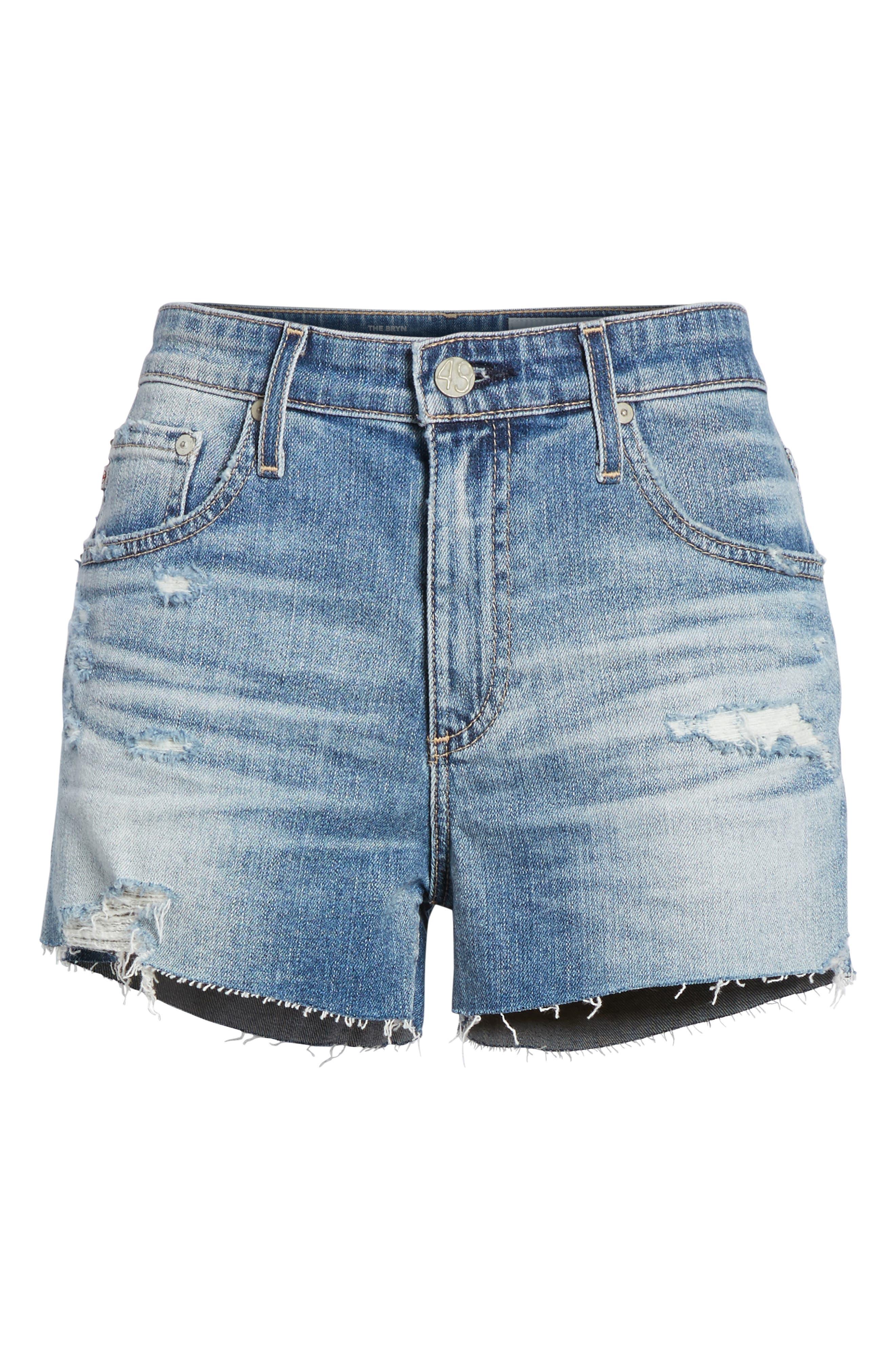 The Bryn High Waist Cutoff Denim Shorts,                             Alternate thumbnail 6, color,                             Indigo Deluge Destructed