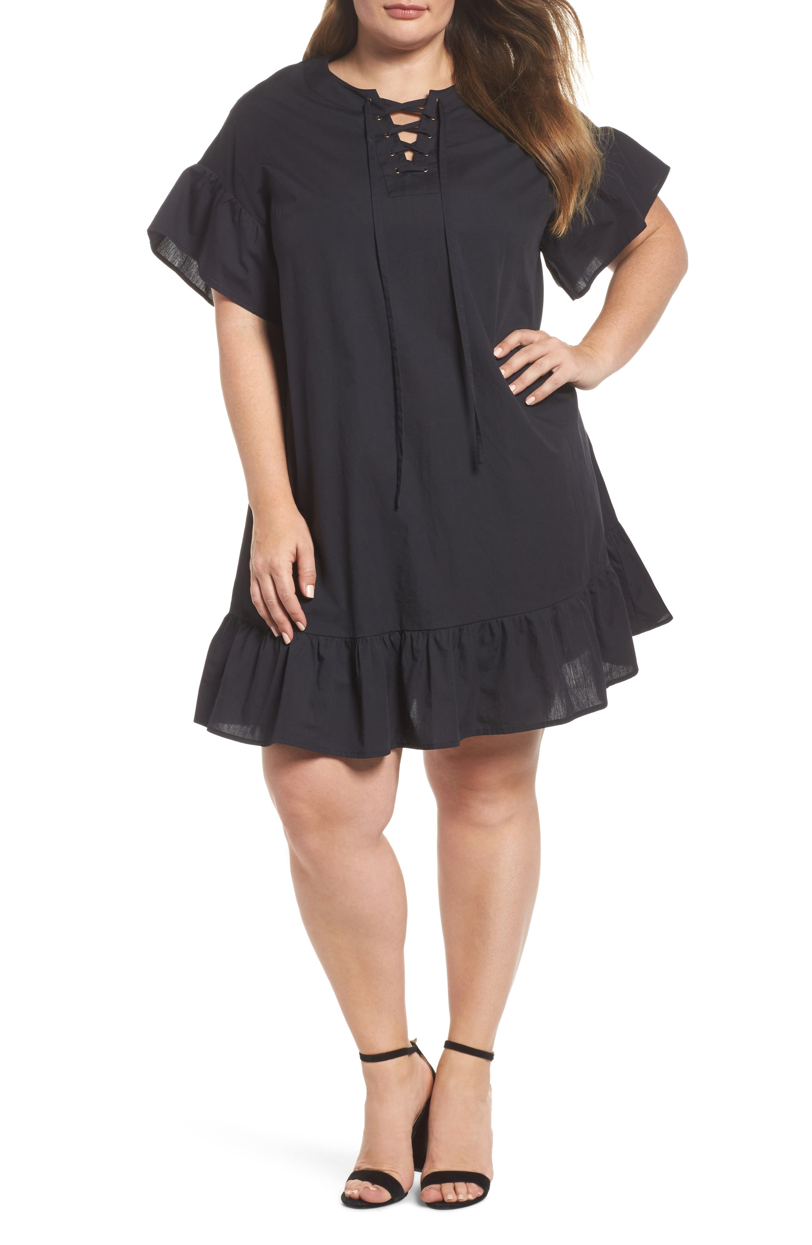 Lace-Up Poplin Dress,                             Main thumbnail 1, color,                             Lucky Black