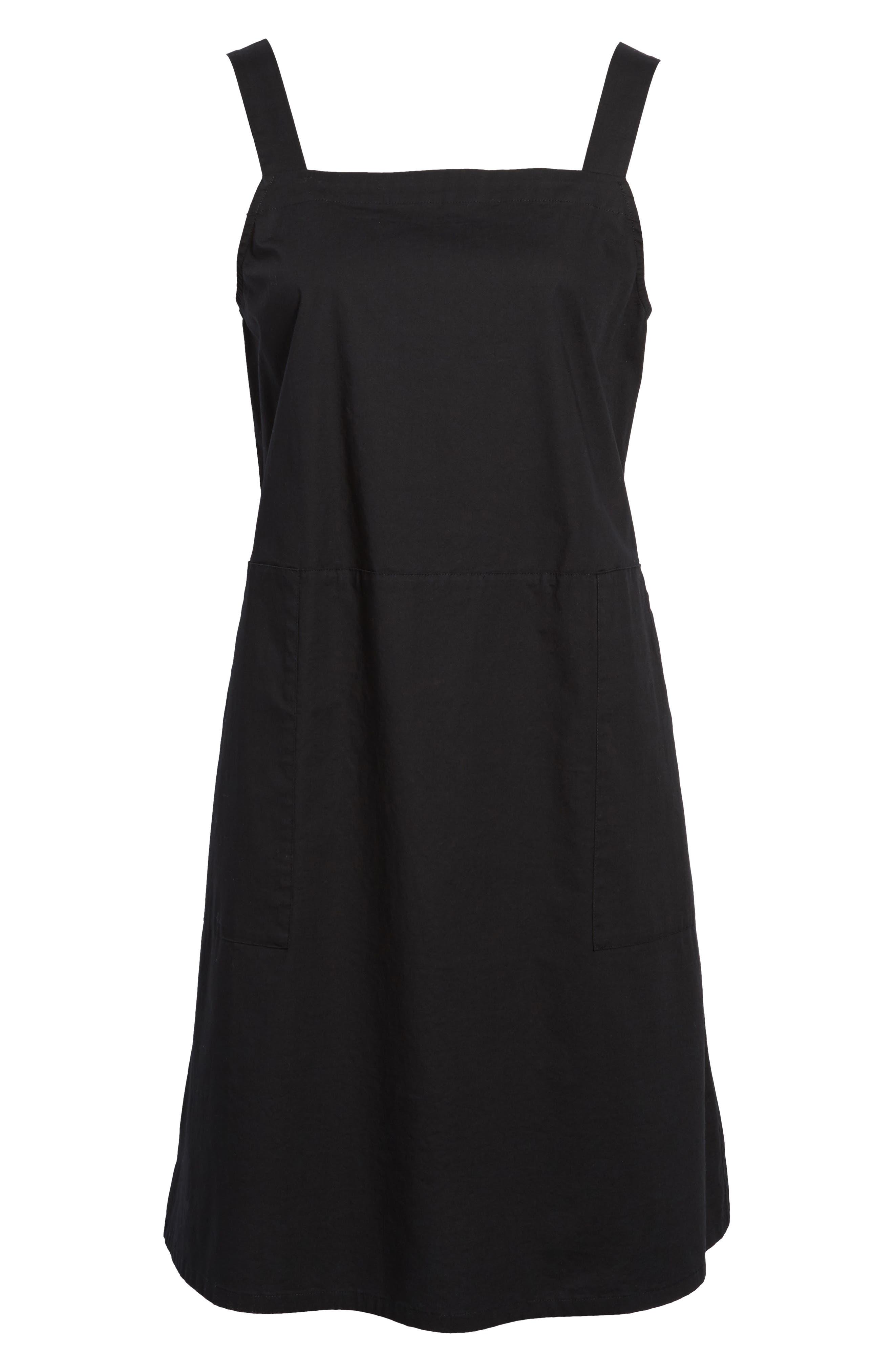 Stretch Organic Cotton Tank Dress,                             Alternate thumbnail 6, color,                             Black