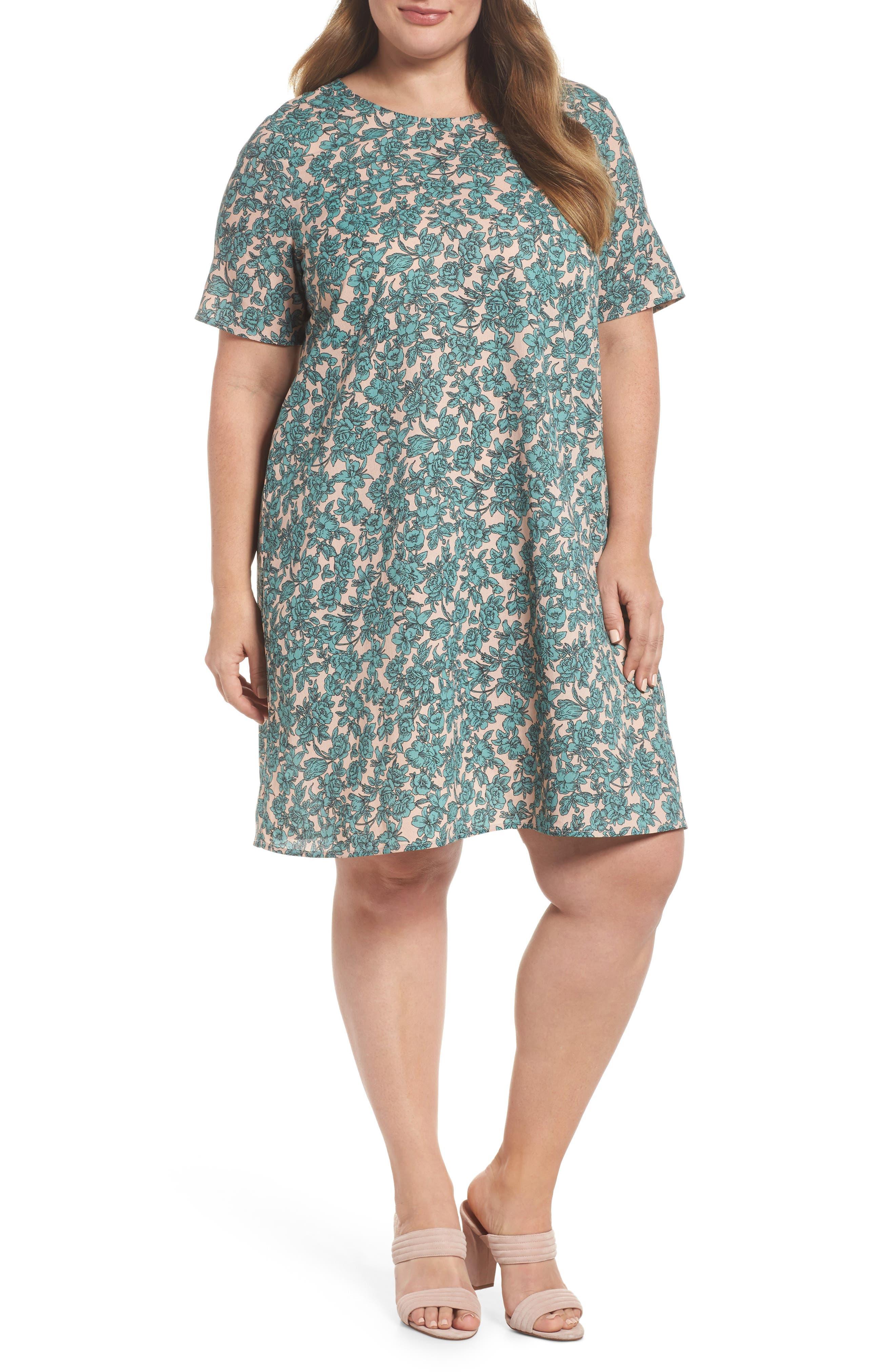 Floral Shift Dress,                         Main,                         color, Sage Green Floral