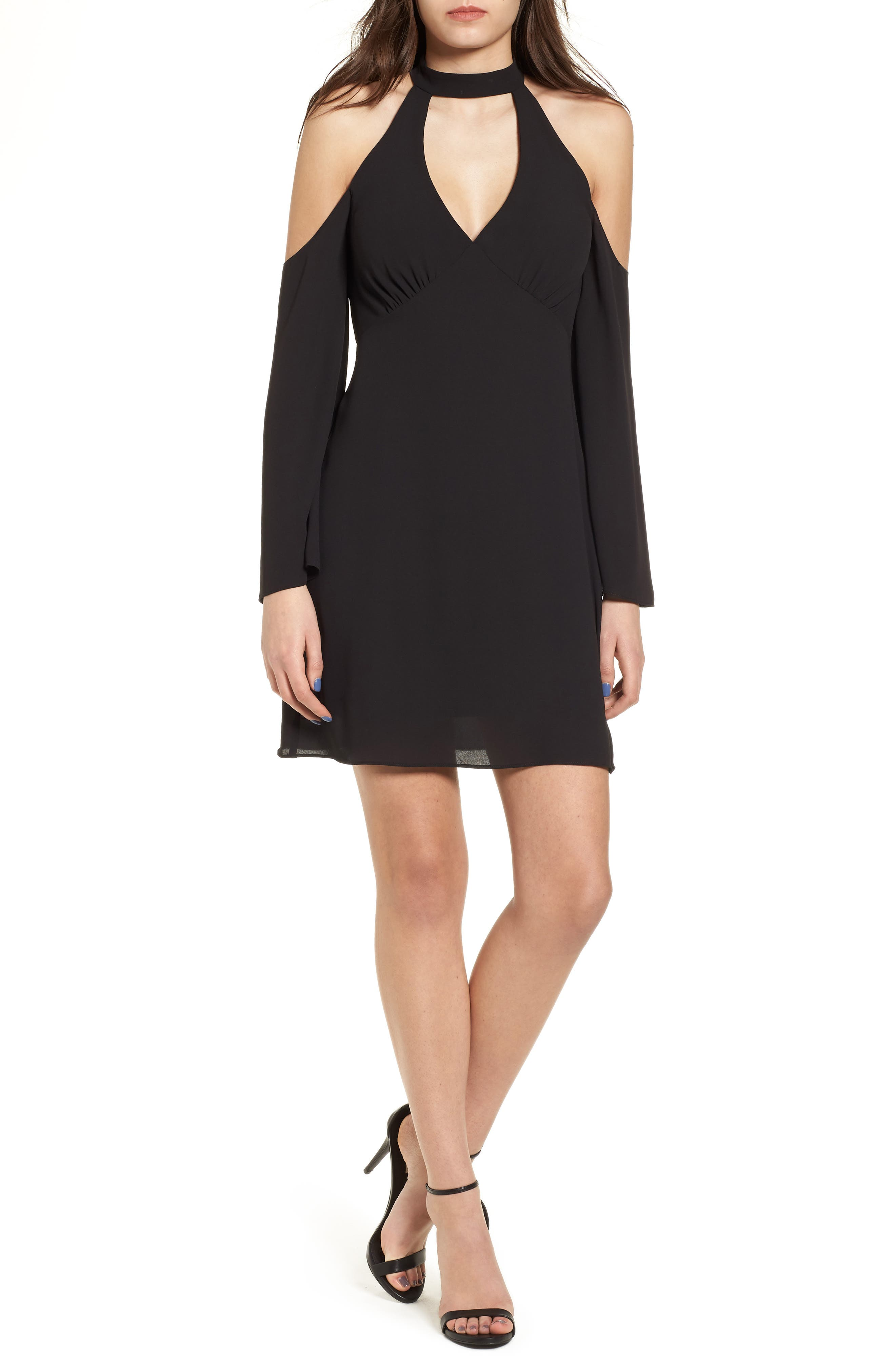 Daikon Cold Shoulder Dress,                         Main,                         color, Black