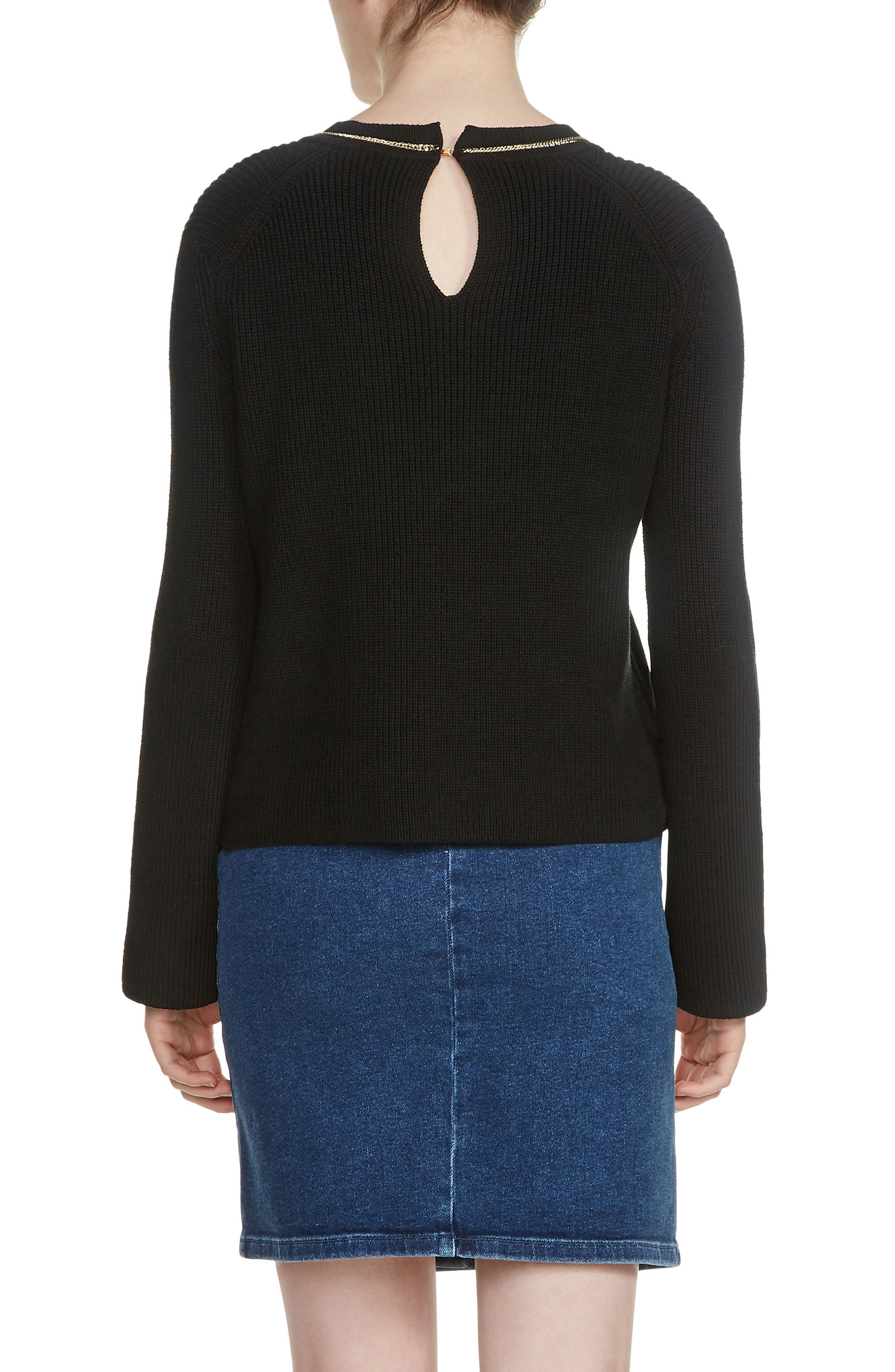 Melting Necklace Collar Ribbed Sweater,                             Alternate thumbnail 2, color,                             Black 210