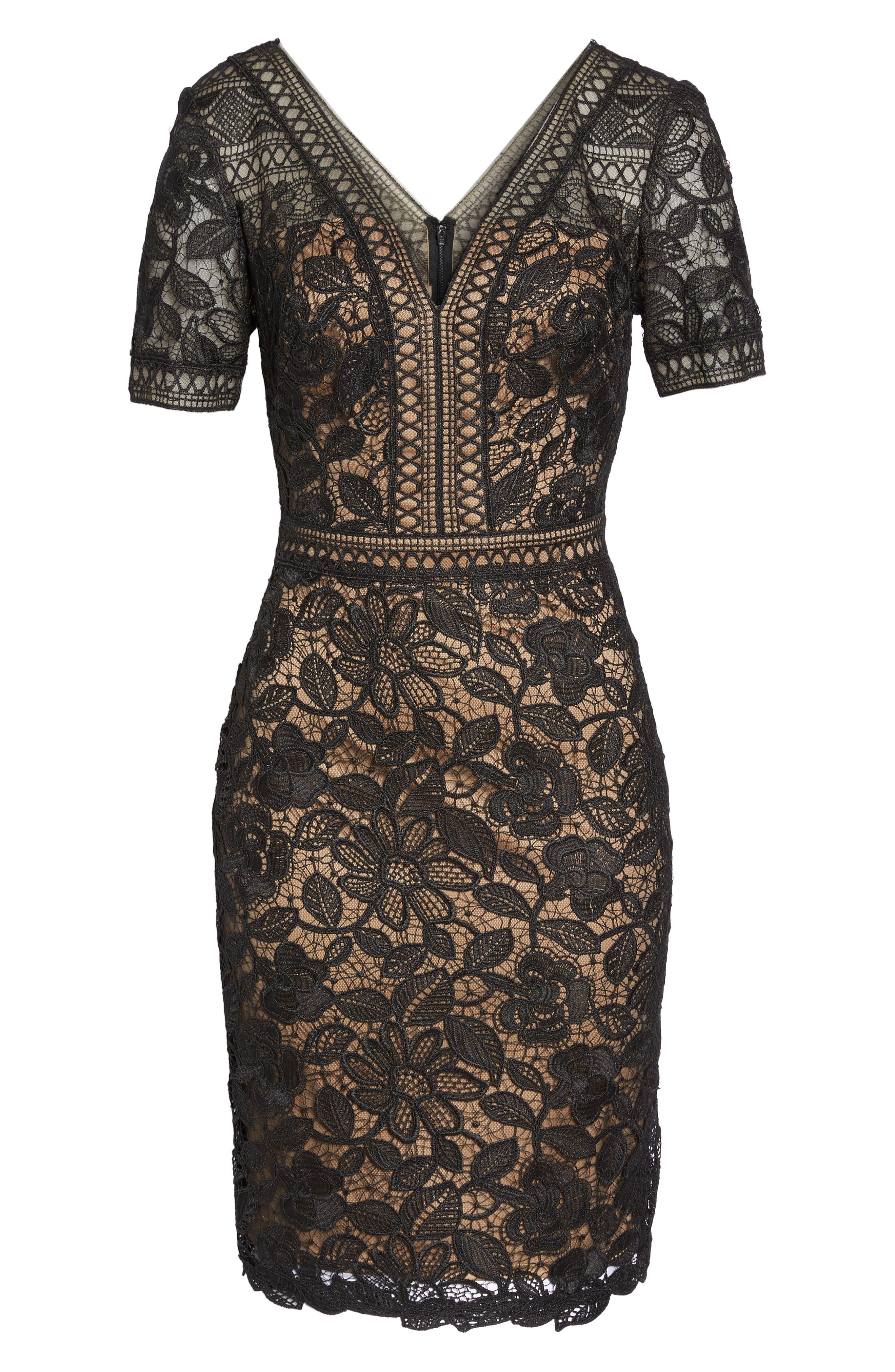 V-Neck Lace Sheath Dress,                             Alternate thumbnail 6, color,                             Black/ Nude
