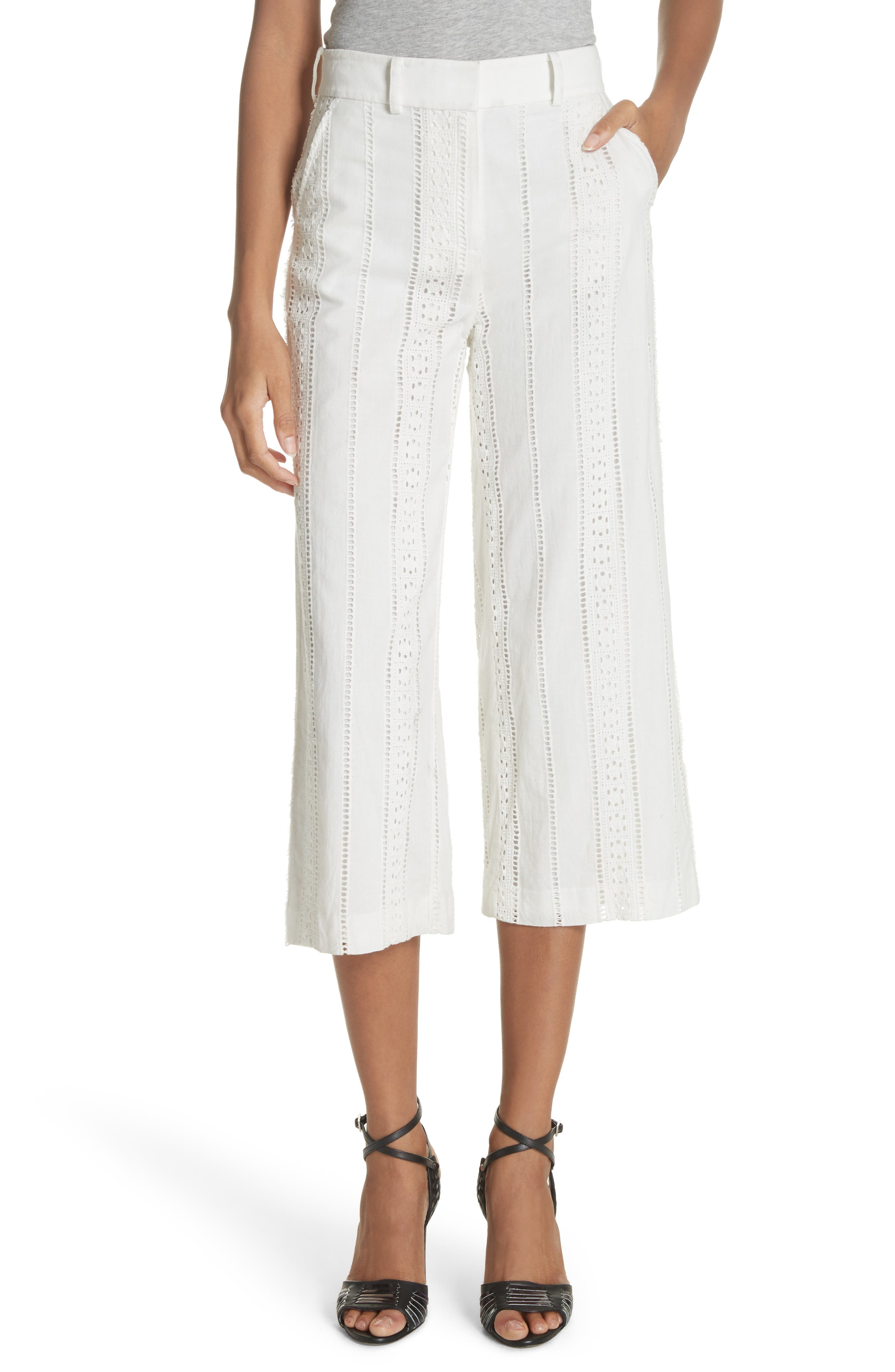 Leta Eyelet Gaucho Pants,                         Main,                         color, White