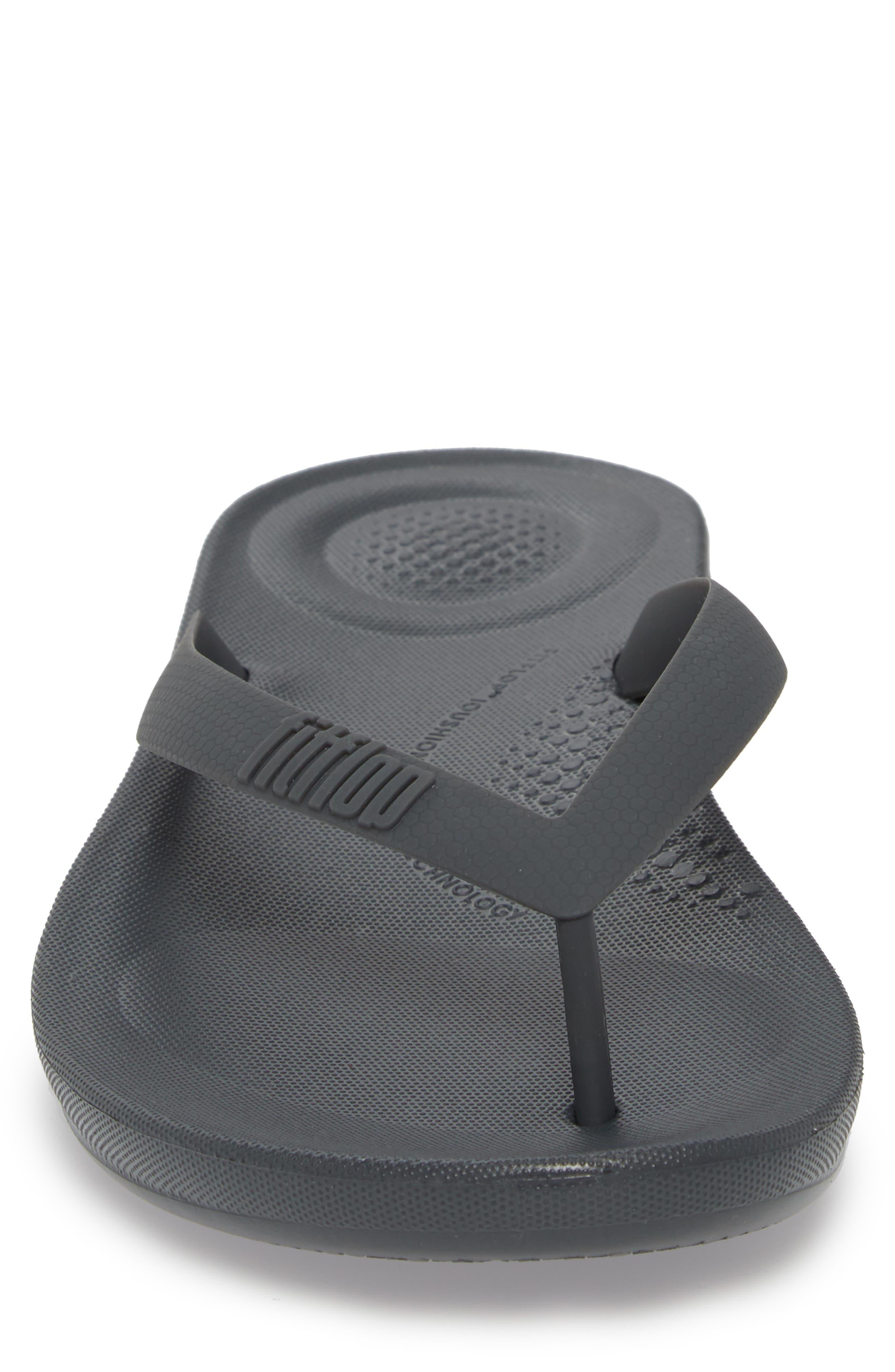 iQushion Flip Flop,                             Alternate thumbnail 4, color,                             Charcoal Rubber