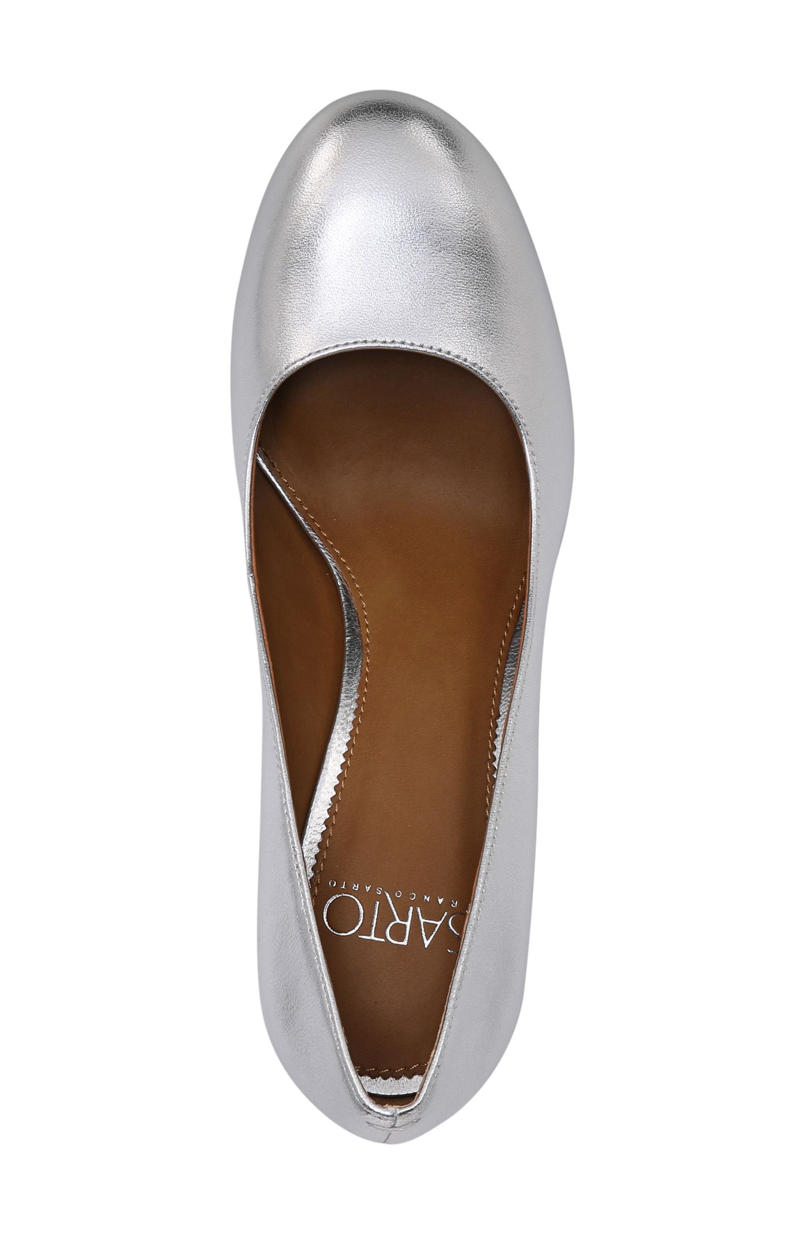 Aziza Block Heel Pump,                             Alternate thumbnail 5, color,                             Silver Leather