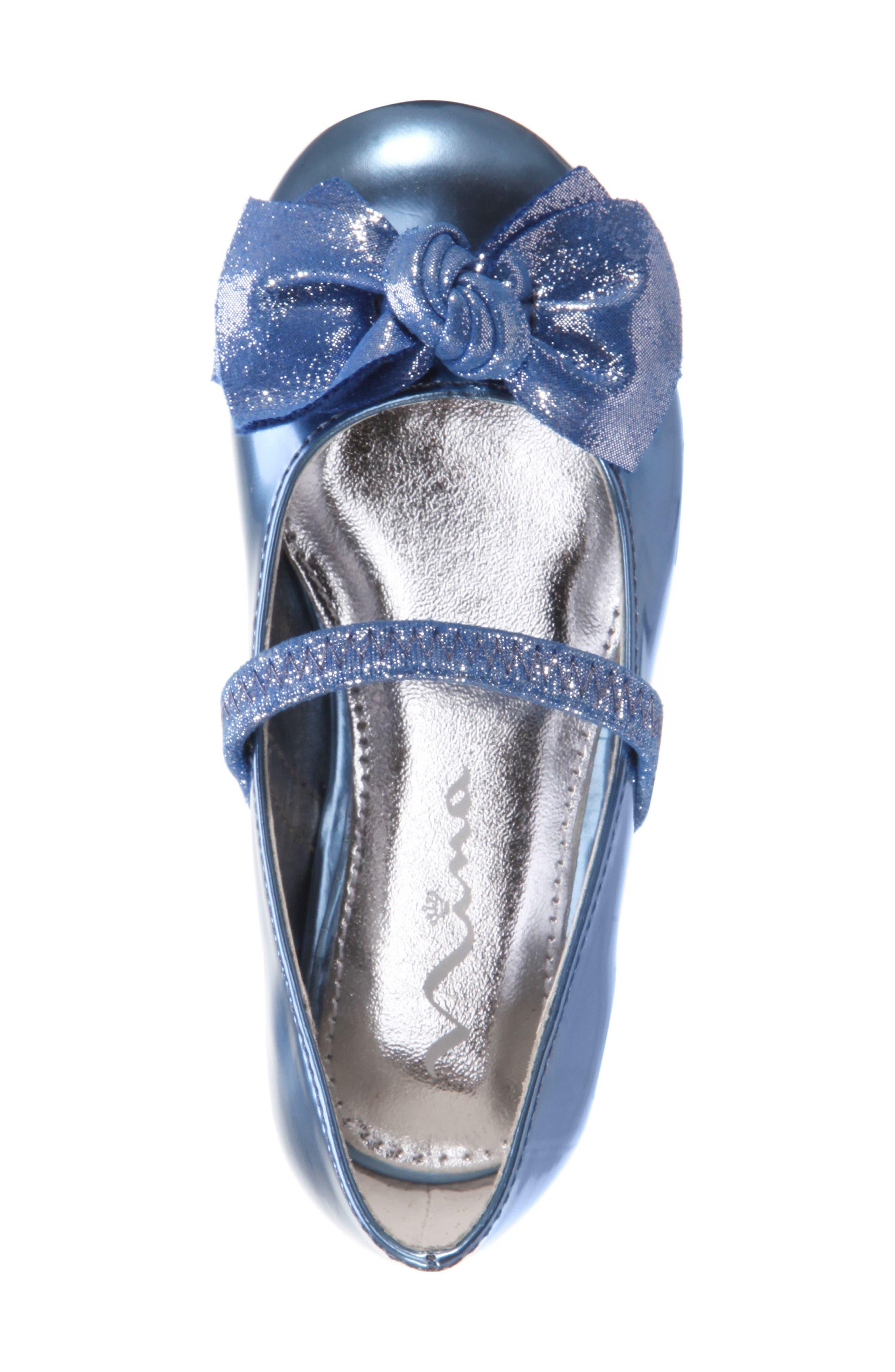 Kaytelyn-T Glitter Bow Ballet Flat,                             Alternate thumbnail 5, color,                             Blue Mirror Metallic