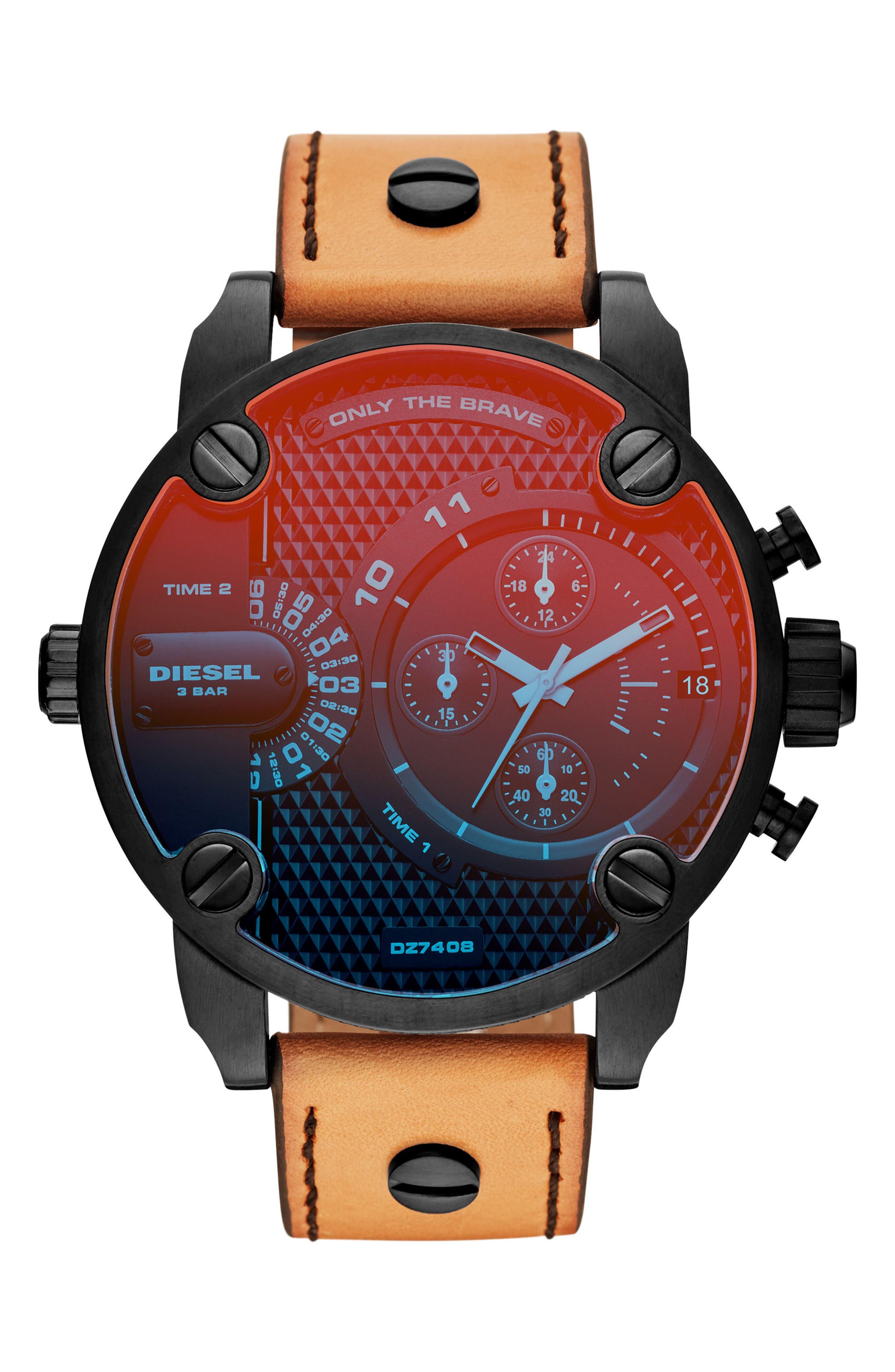 Little Daddy Leather Strap Chronograph Watch, 52mm,                         Main,                         color, Red/ Tan