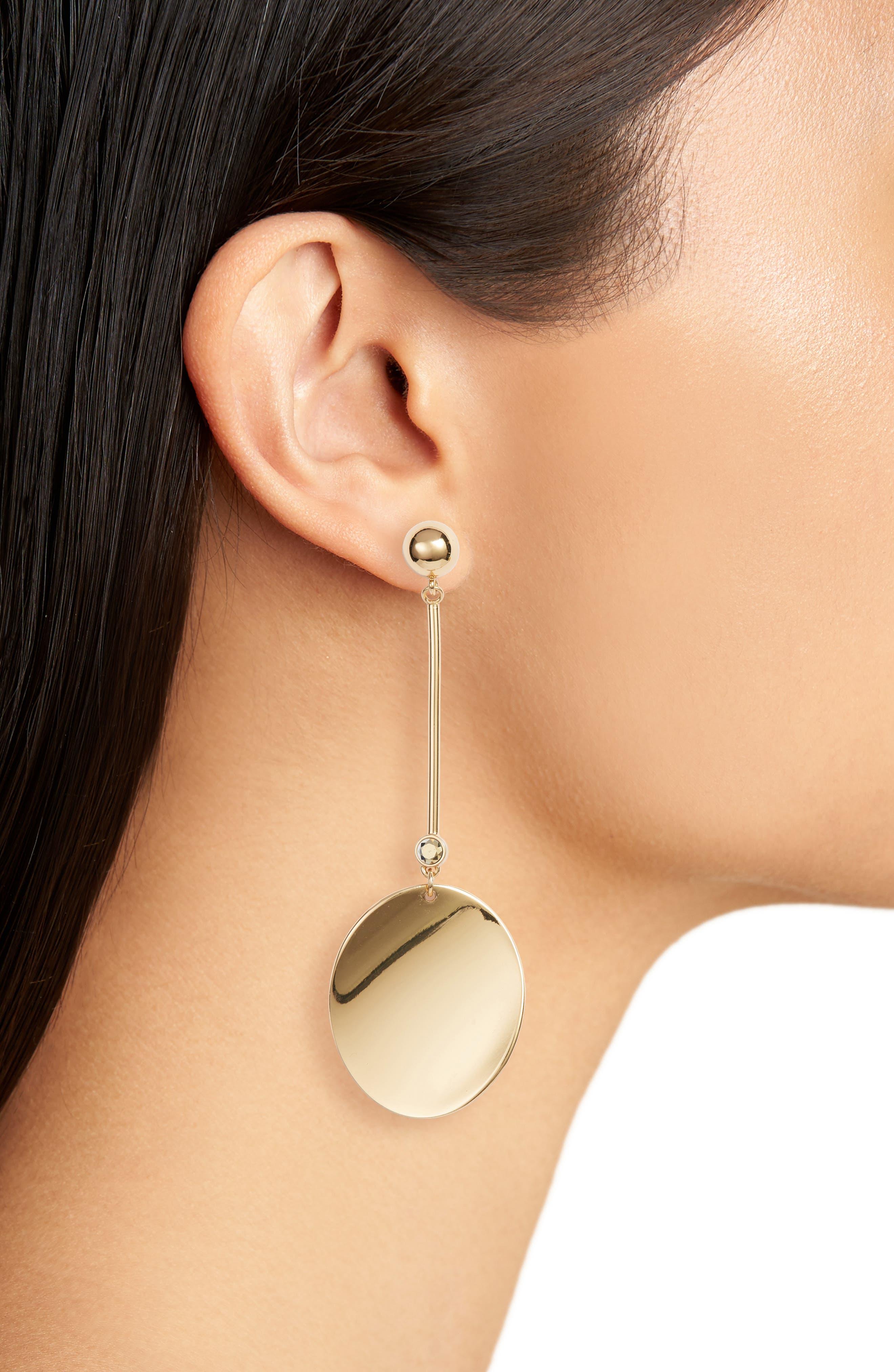 gold standard linear earrings,                             Alternate thumbnail 2, color,                             Gold