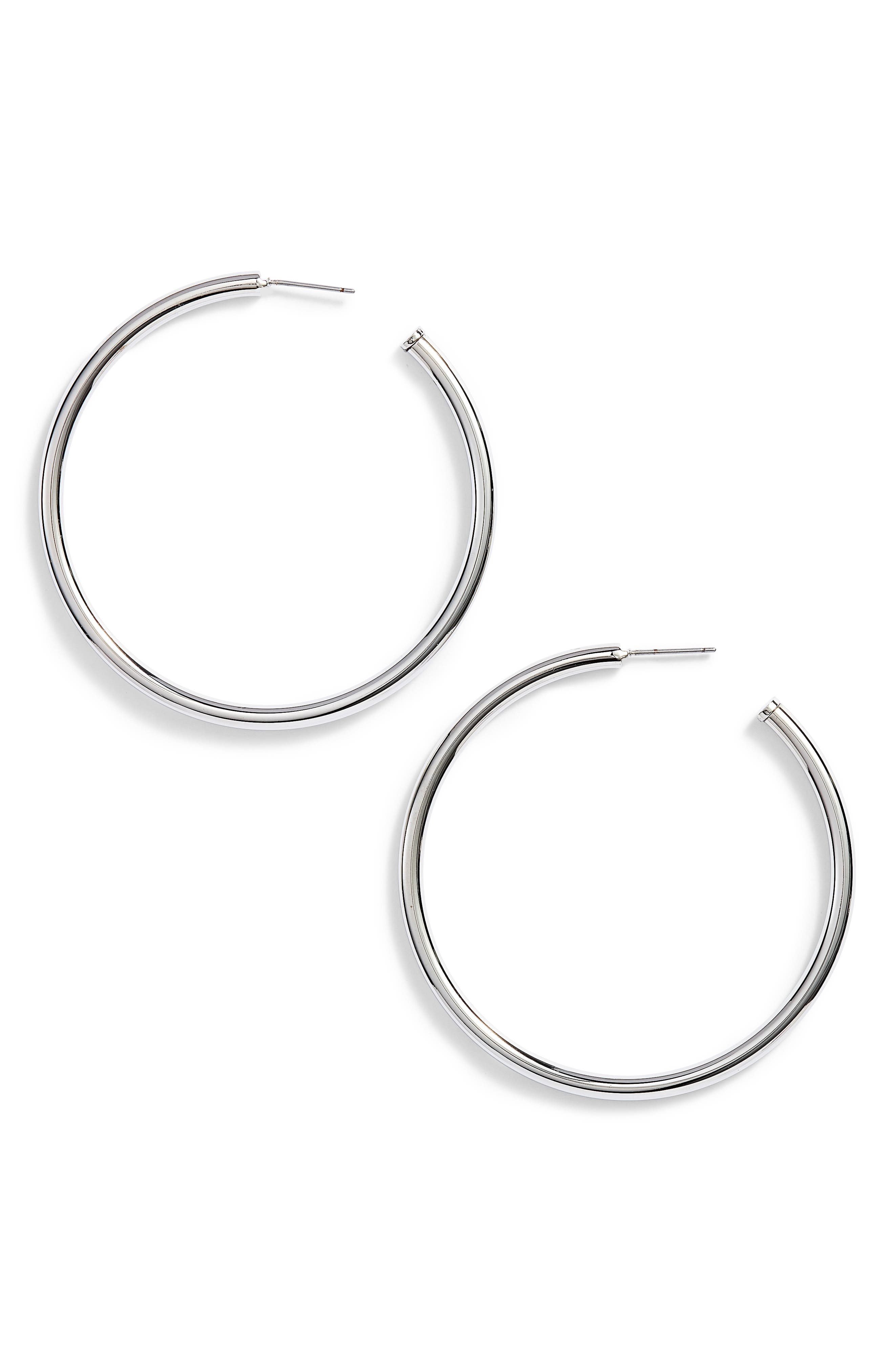 Rounded Tube Oversize Hoop Earrings,                             Main thumbnail 1, color,                             Silver