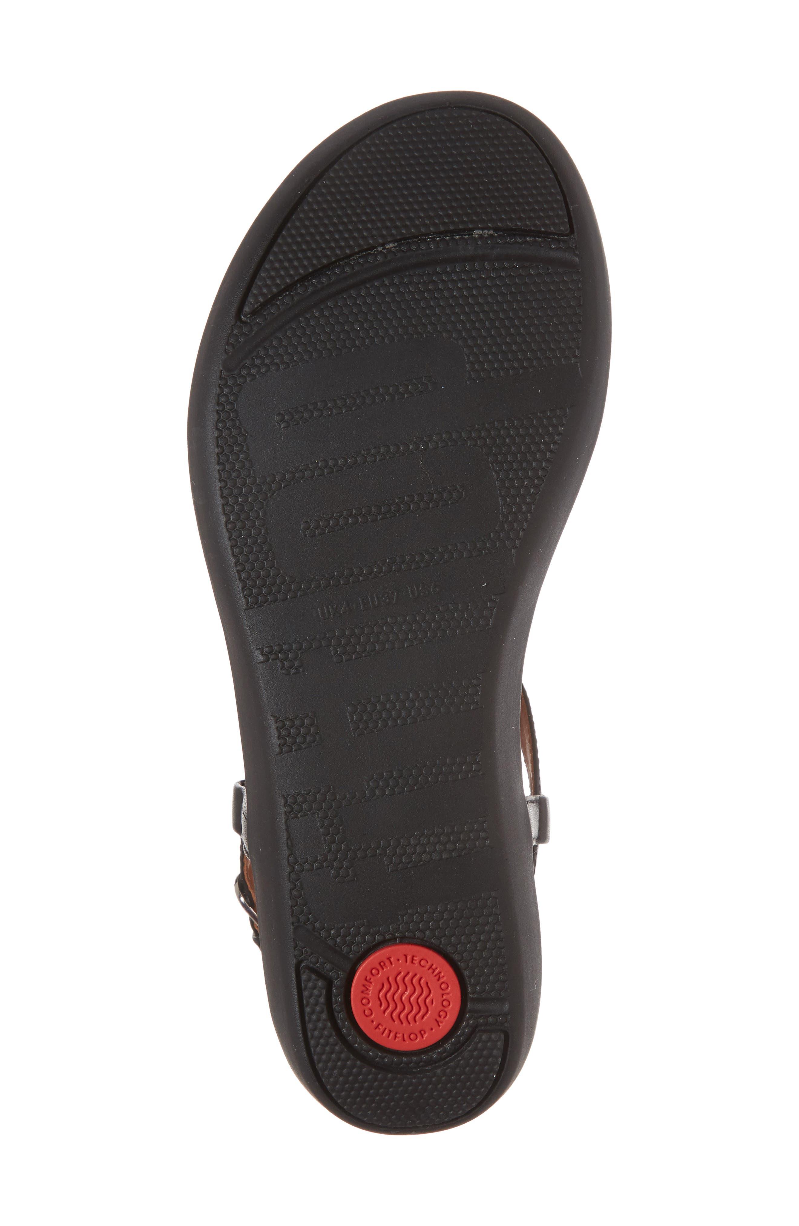 Tia Thong Sandal,                             Alternate thumbnail 6, color,                             Black Leather
