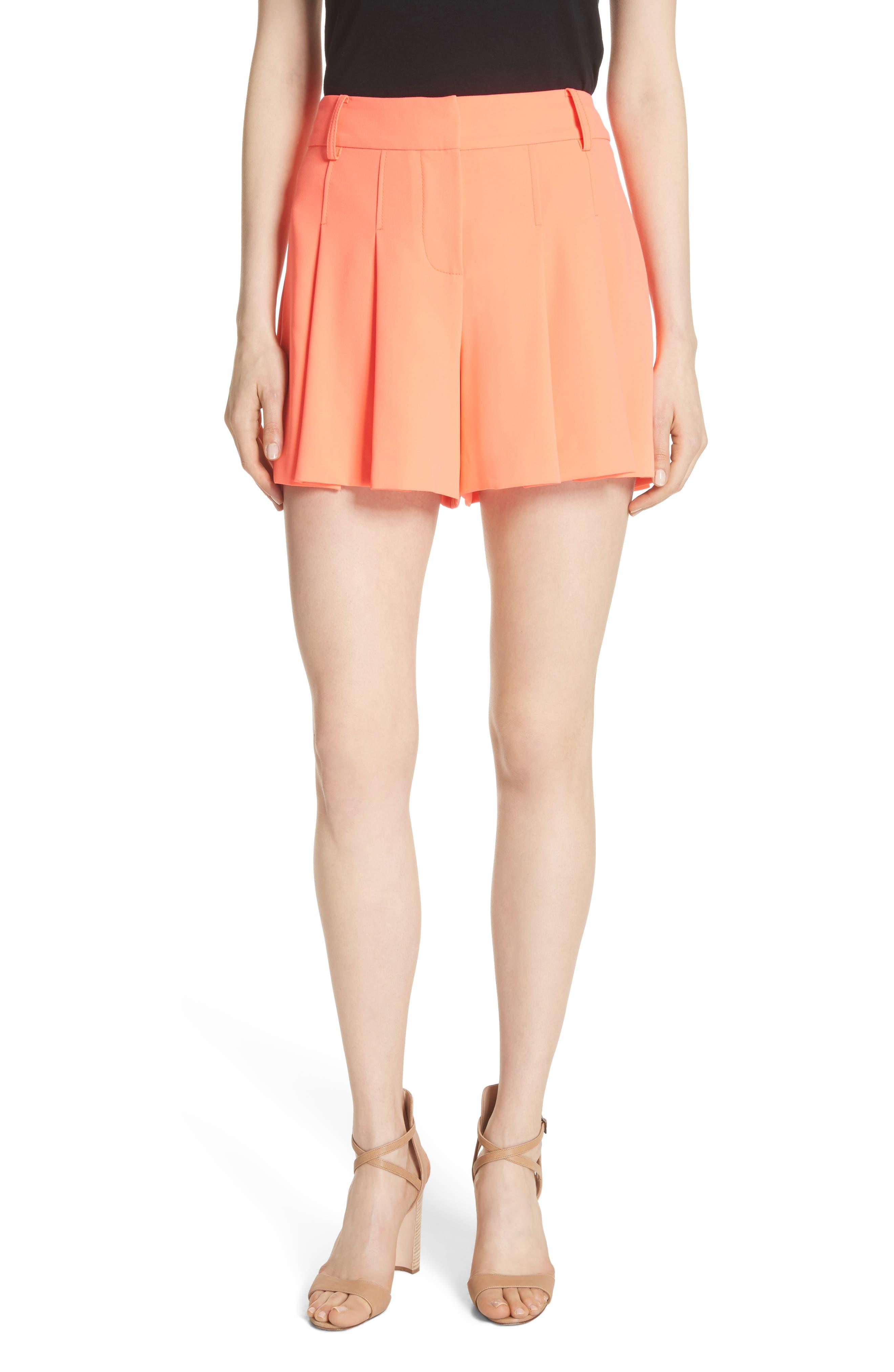 Scarlet Flutter Shorts,                             Main thumbnail 1, color,                             Neon Coral