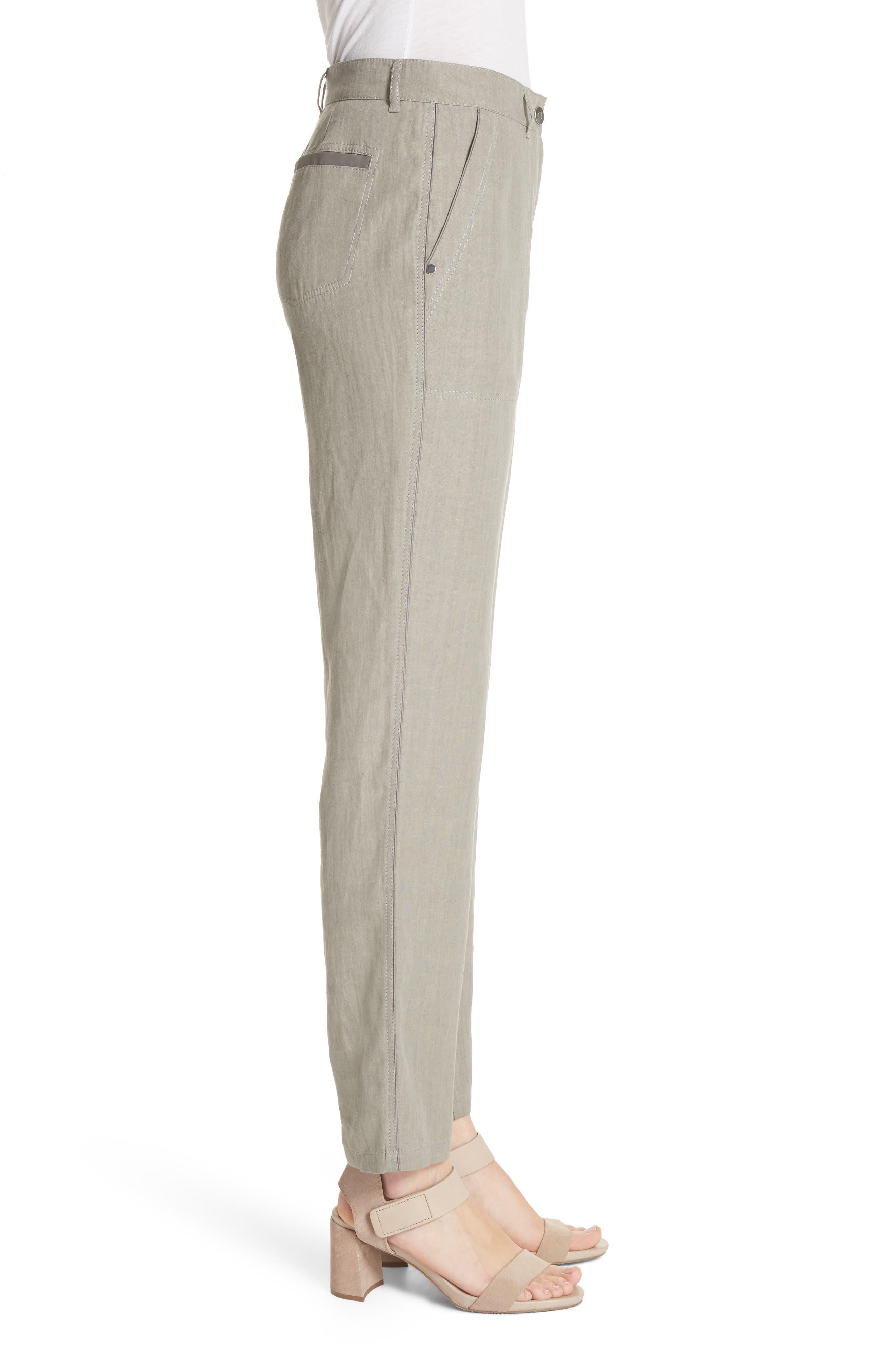 Fulton Linen Crop Pants,                             Alternate thumbnail 3, color,                             Fog