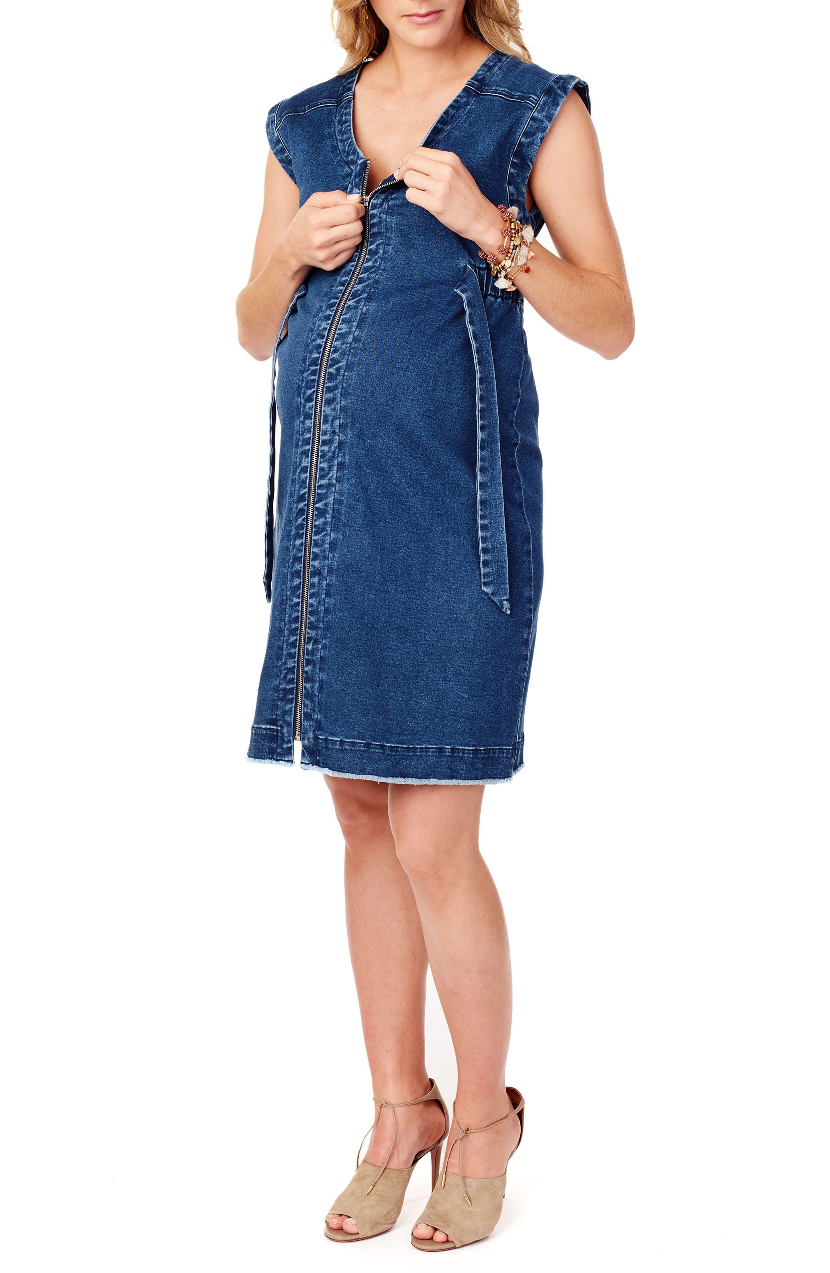 Front Zip Denim Maternity/Nursing Dress,                             Alternate thumbnail 4, color,                             Medium Wash